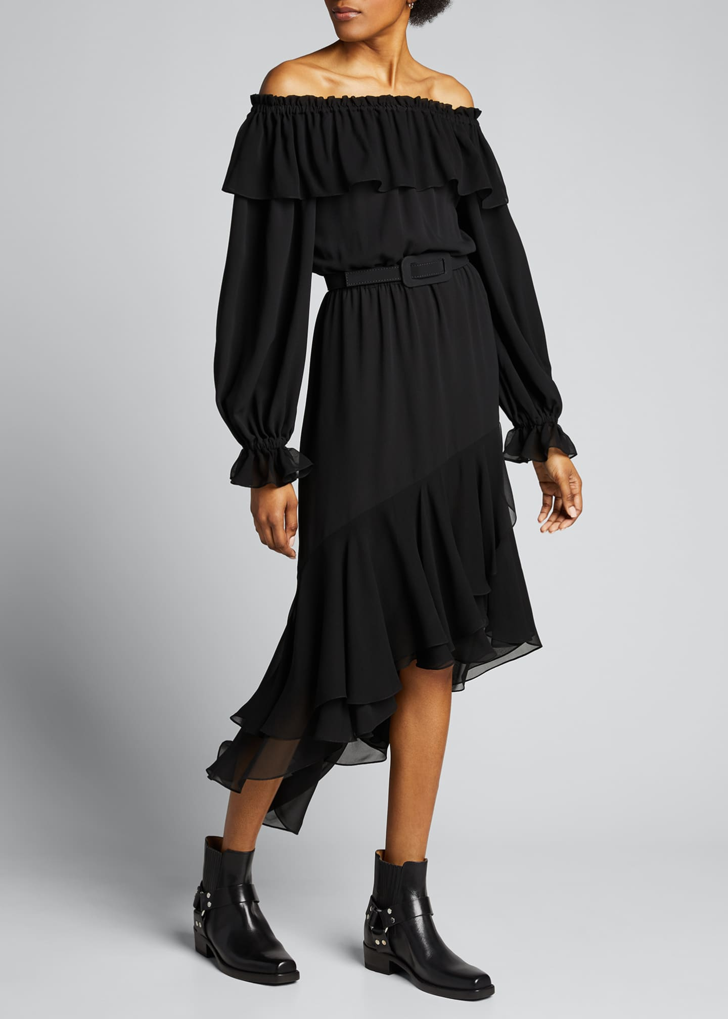 Image 1 of 4: Silk Off-the-Shoulder Belted Dress