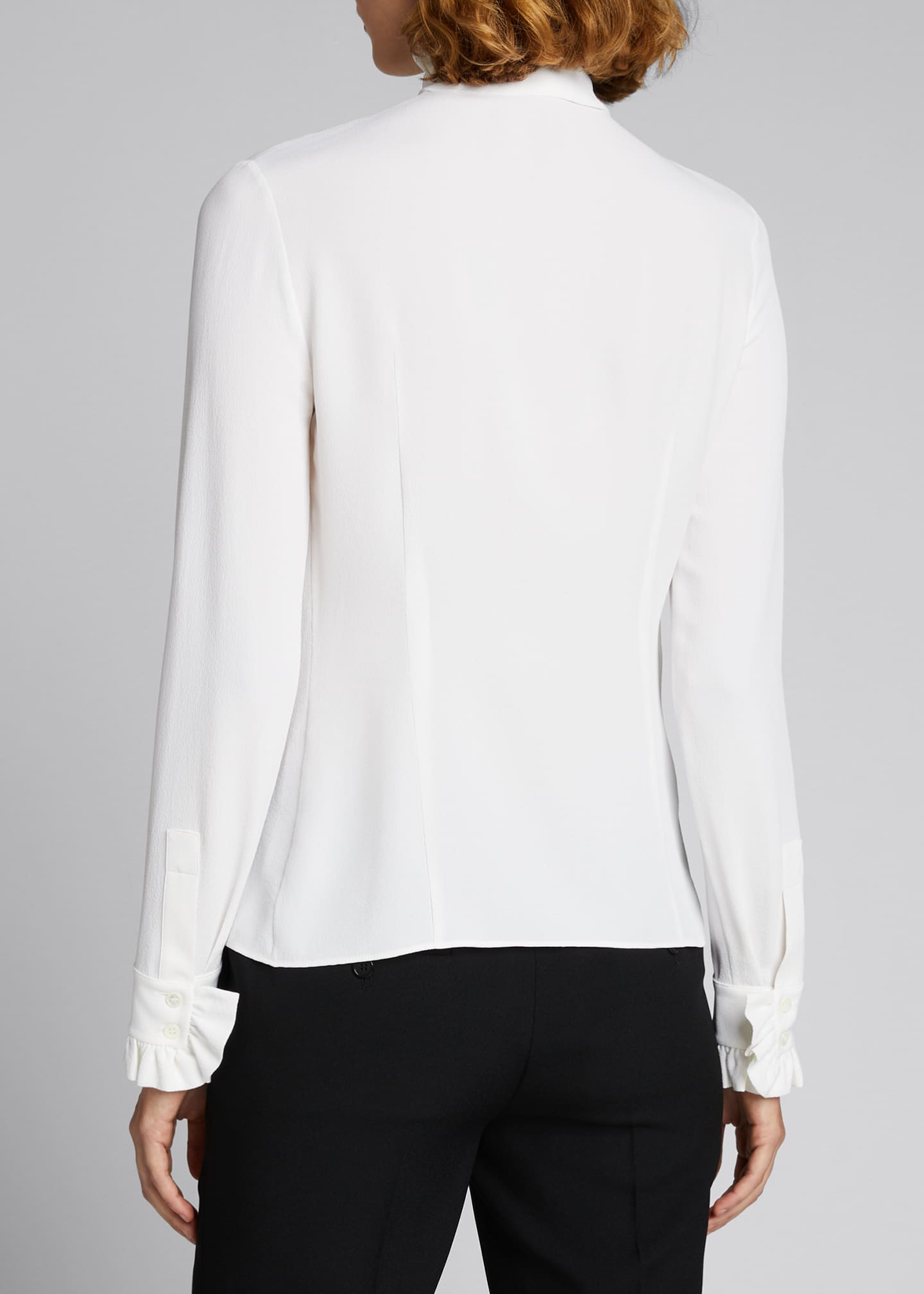 Image 2 of 5: Mock-Neck Blouse with Neck Tie