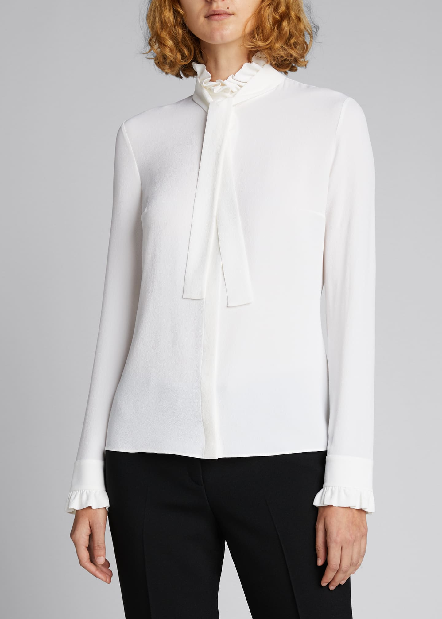 Image 3 of 5: Mock-Neck Blouse with Neck Tie