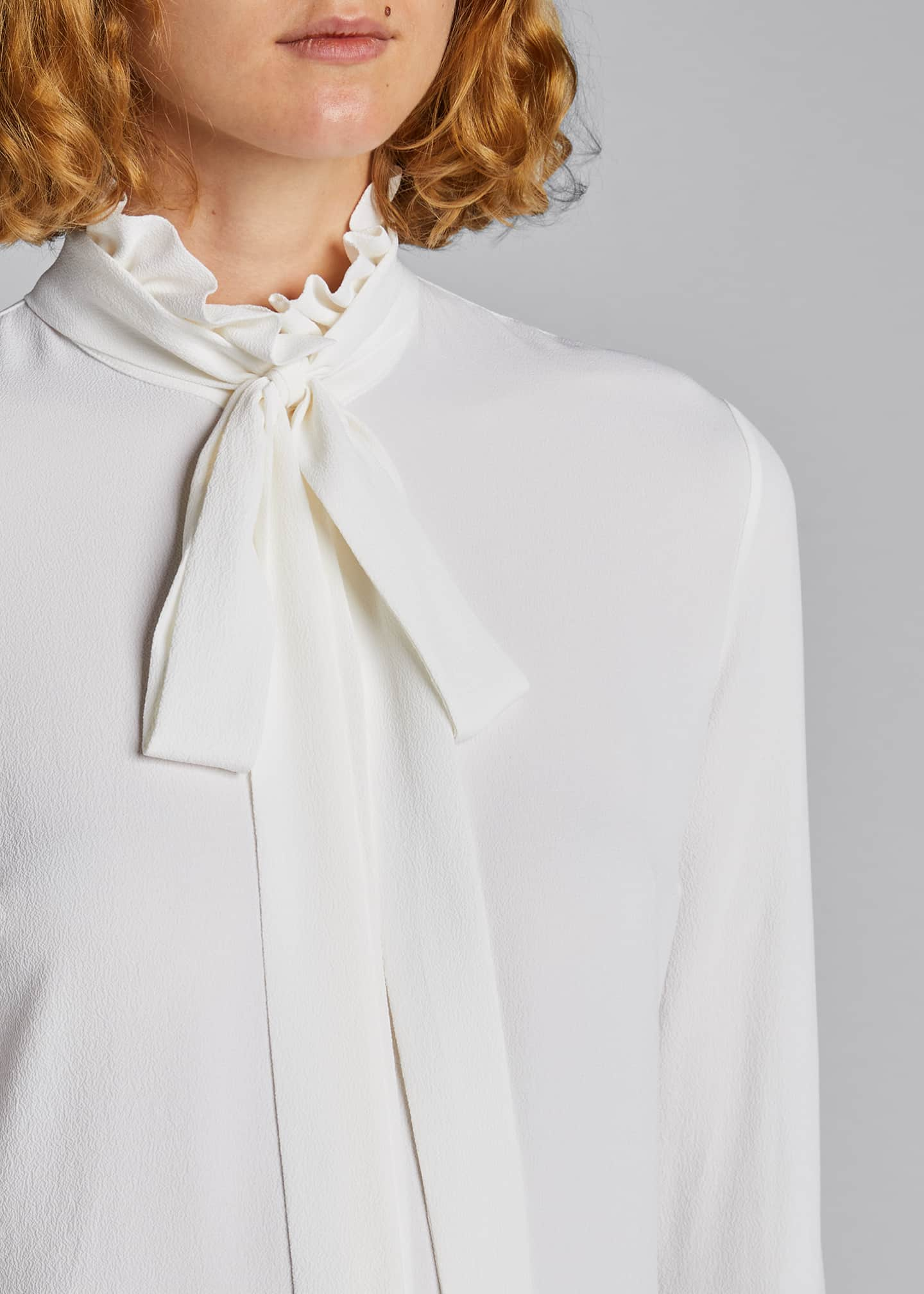 Image 4 of 5: Mock-Neck Blouse with Neck Tie