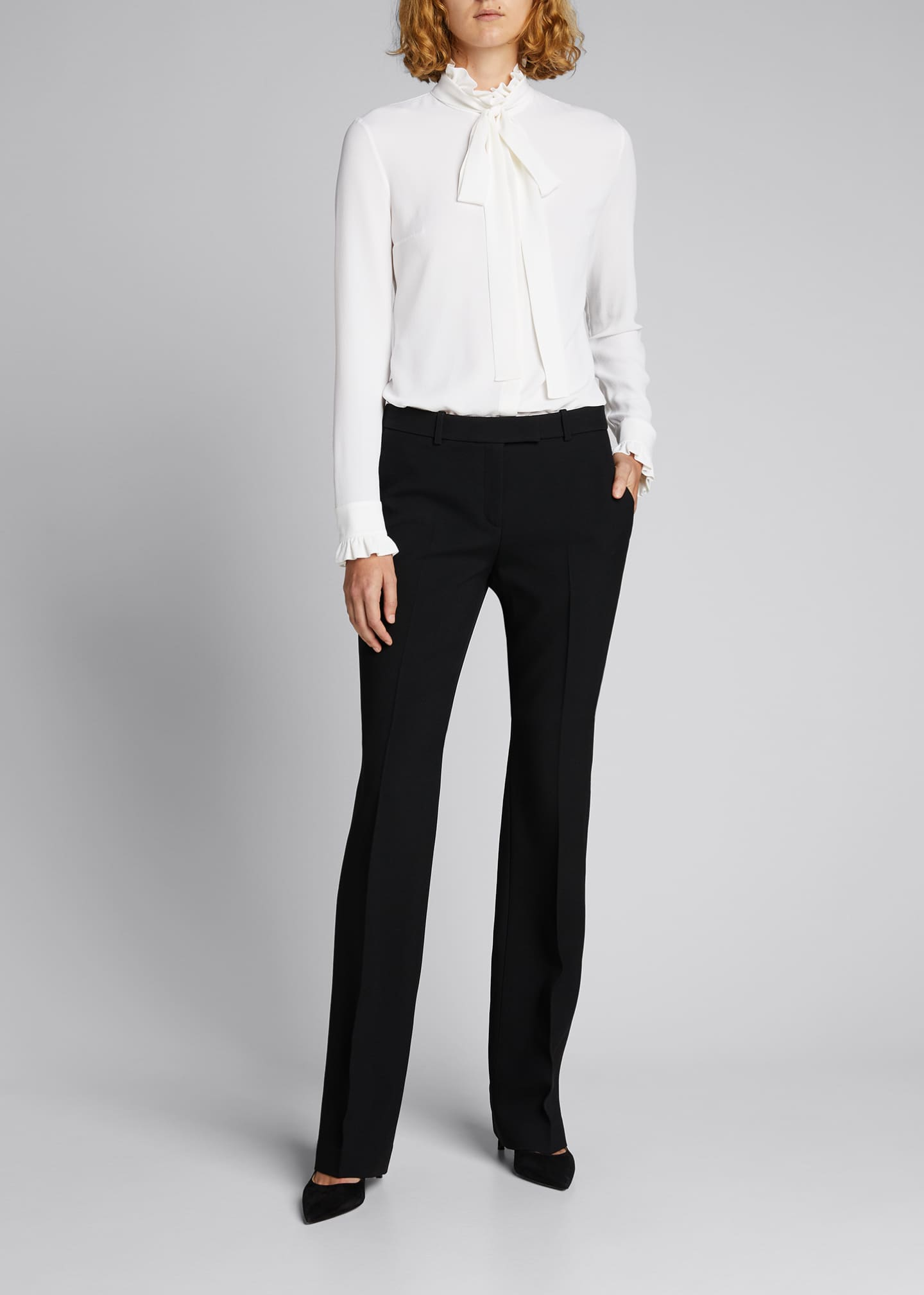 Image 1 of 5: Mock-Neck Blouse with Neck Tie