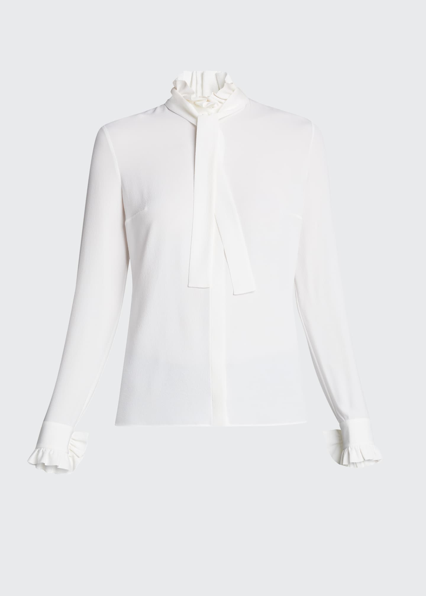 Image 5 of 5: Mock-Neck Blouse with Neck Tie