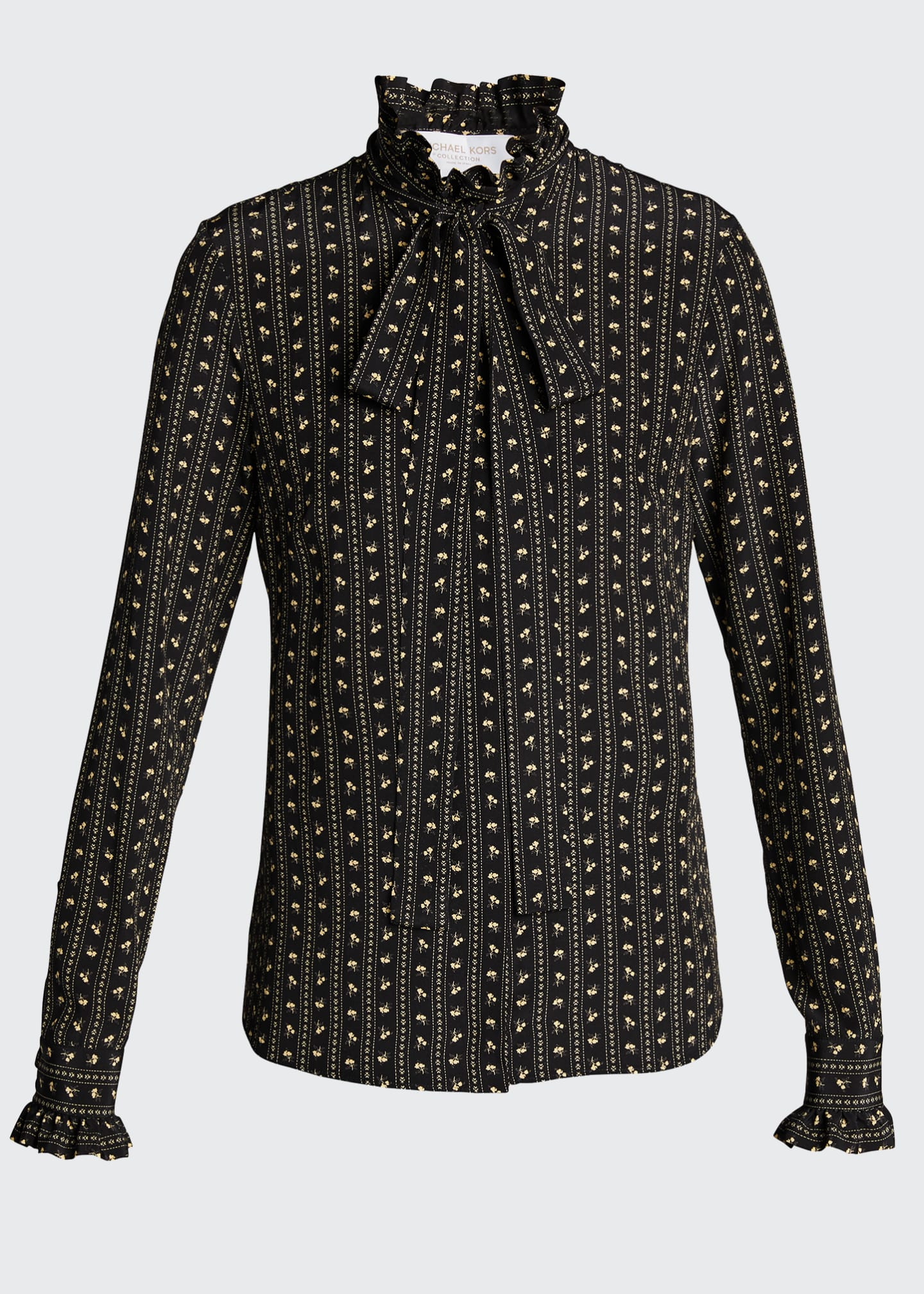 Image 5 of 5: Mock-Neck Silk Blouse With Neck Tie