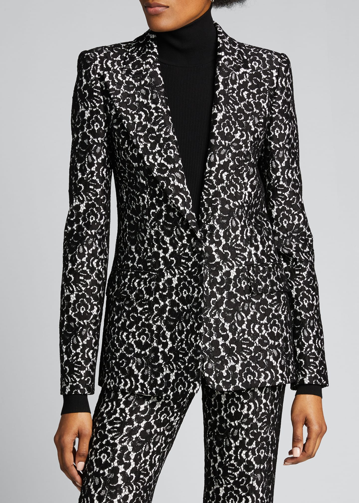 Image 3 of 5: Floral Print Sable One-Button Blazer