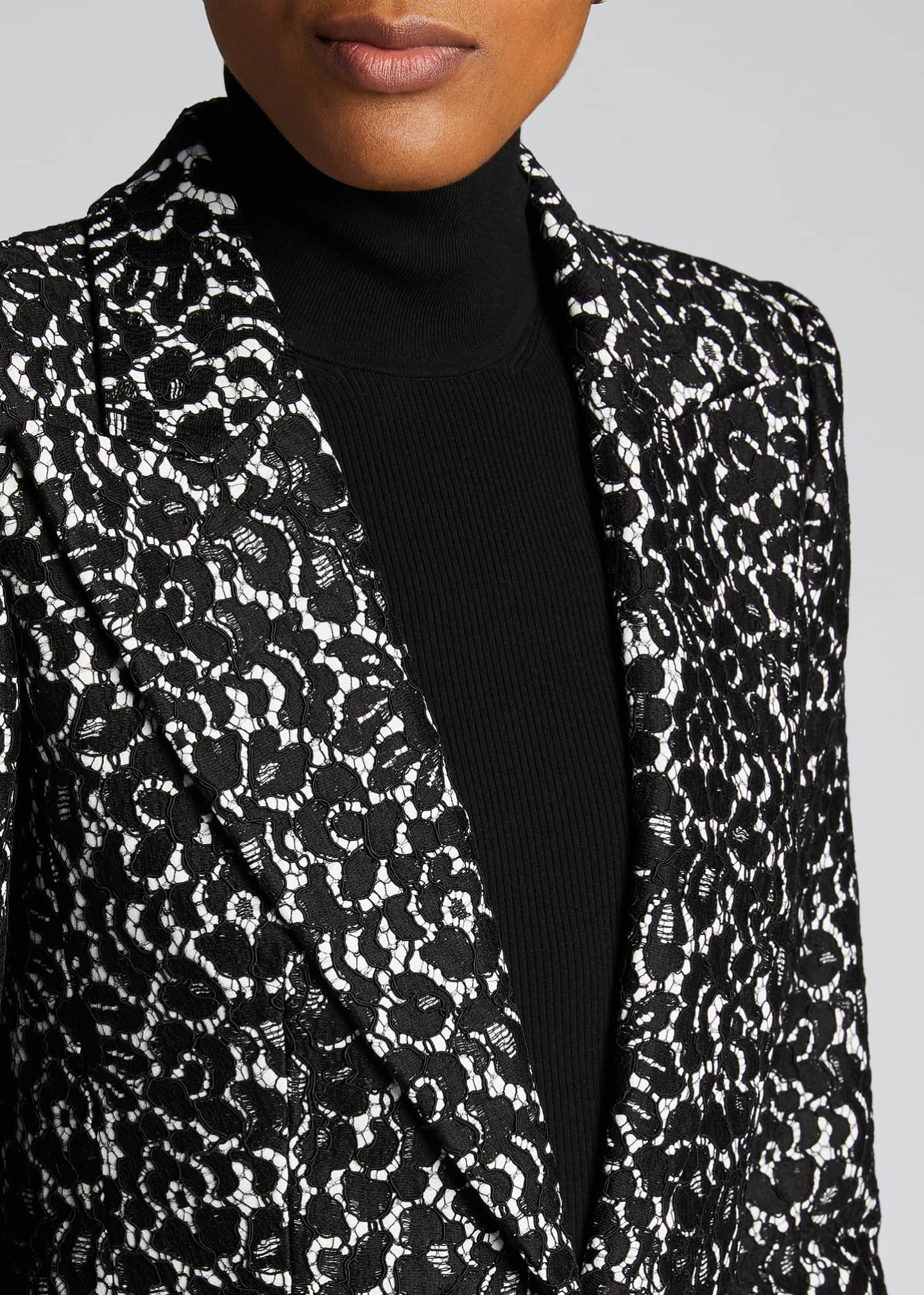 Image 4 of 5: Floral Print Sable One-Button Blazer