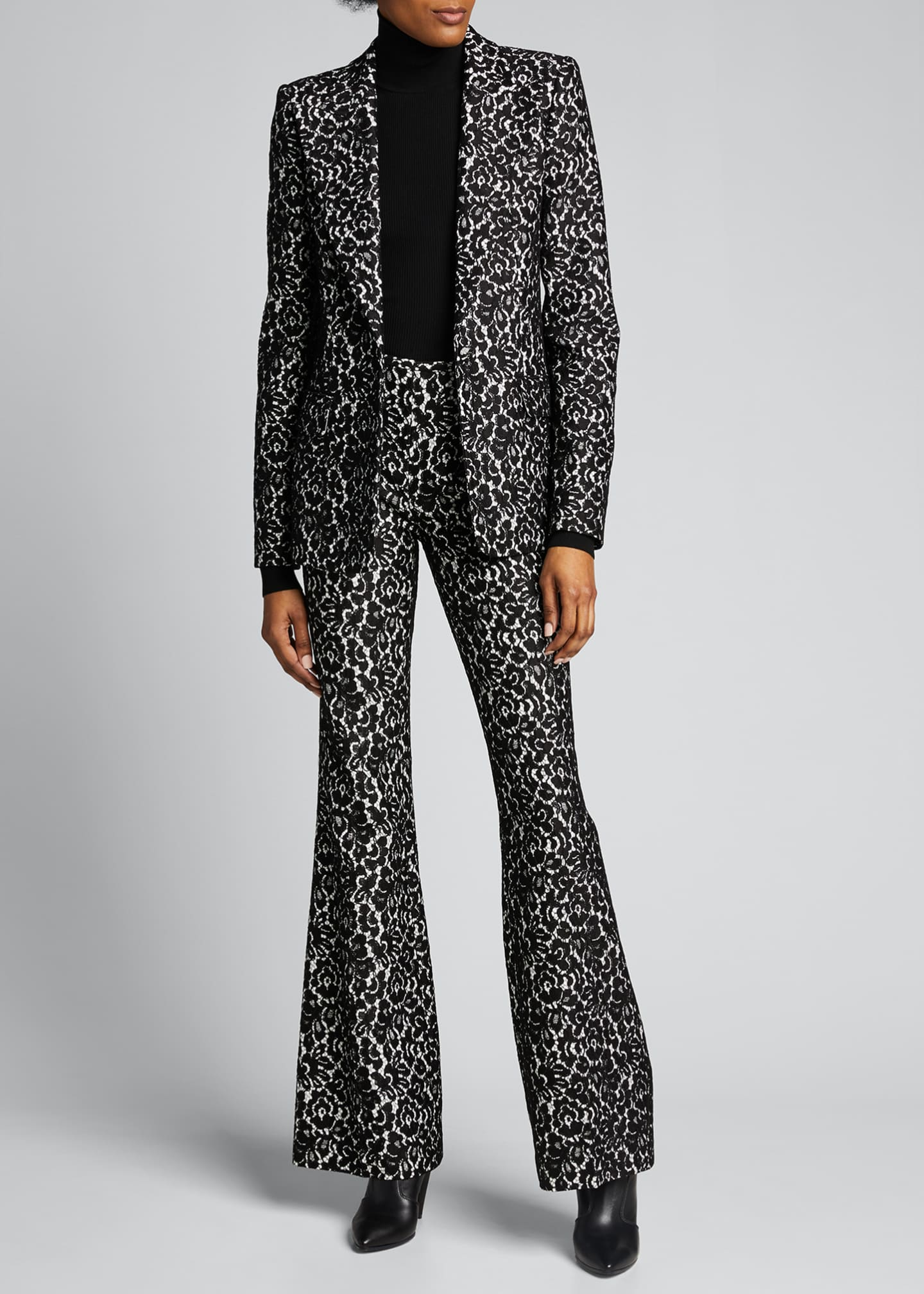 Image 1 of 5: Floral Print Sable One-Button Blazer