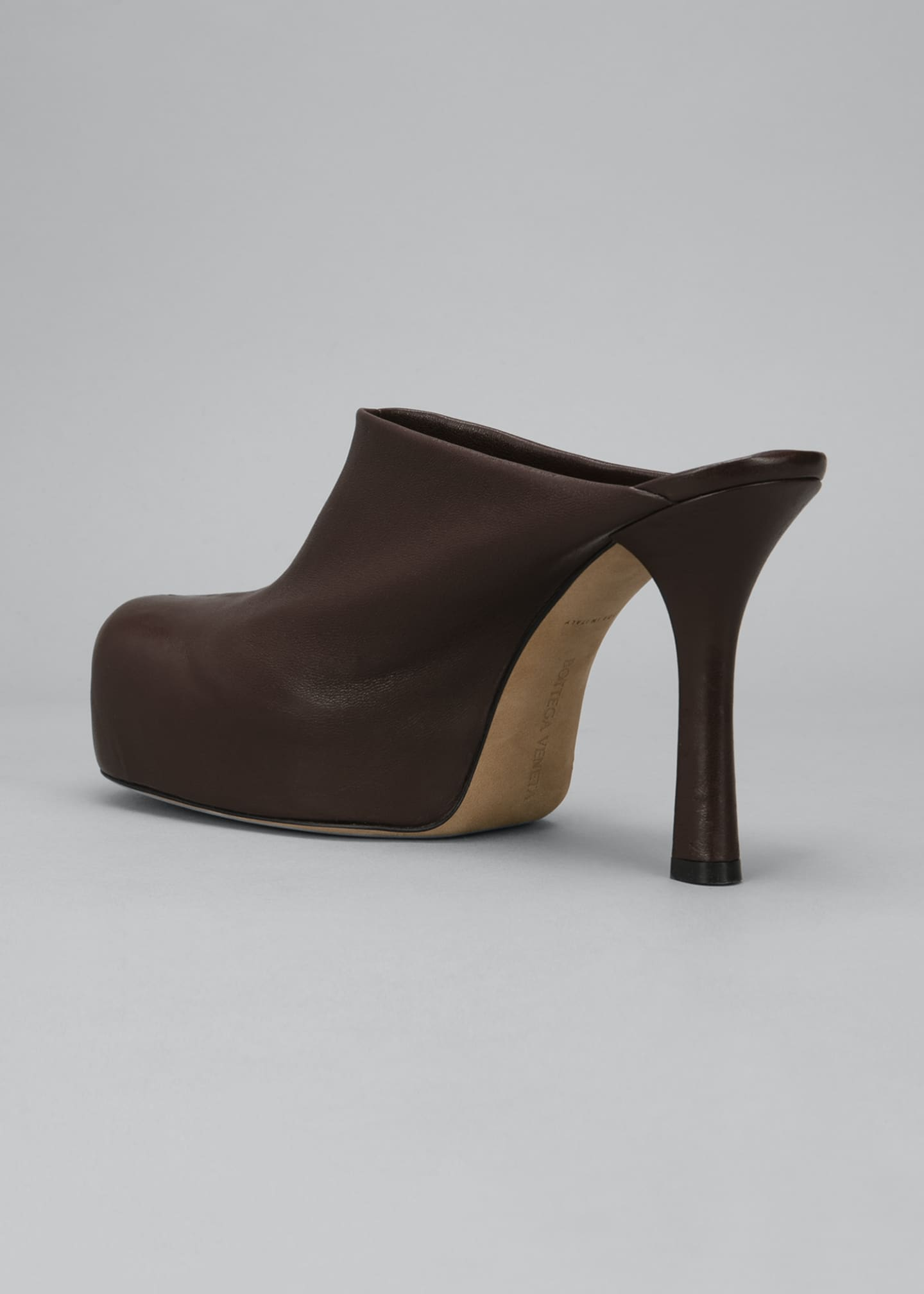 Image 3 of 4: Wave 105mm Platform Stretch Leather Mules
