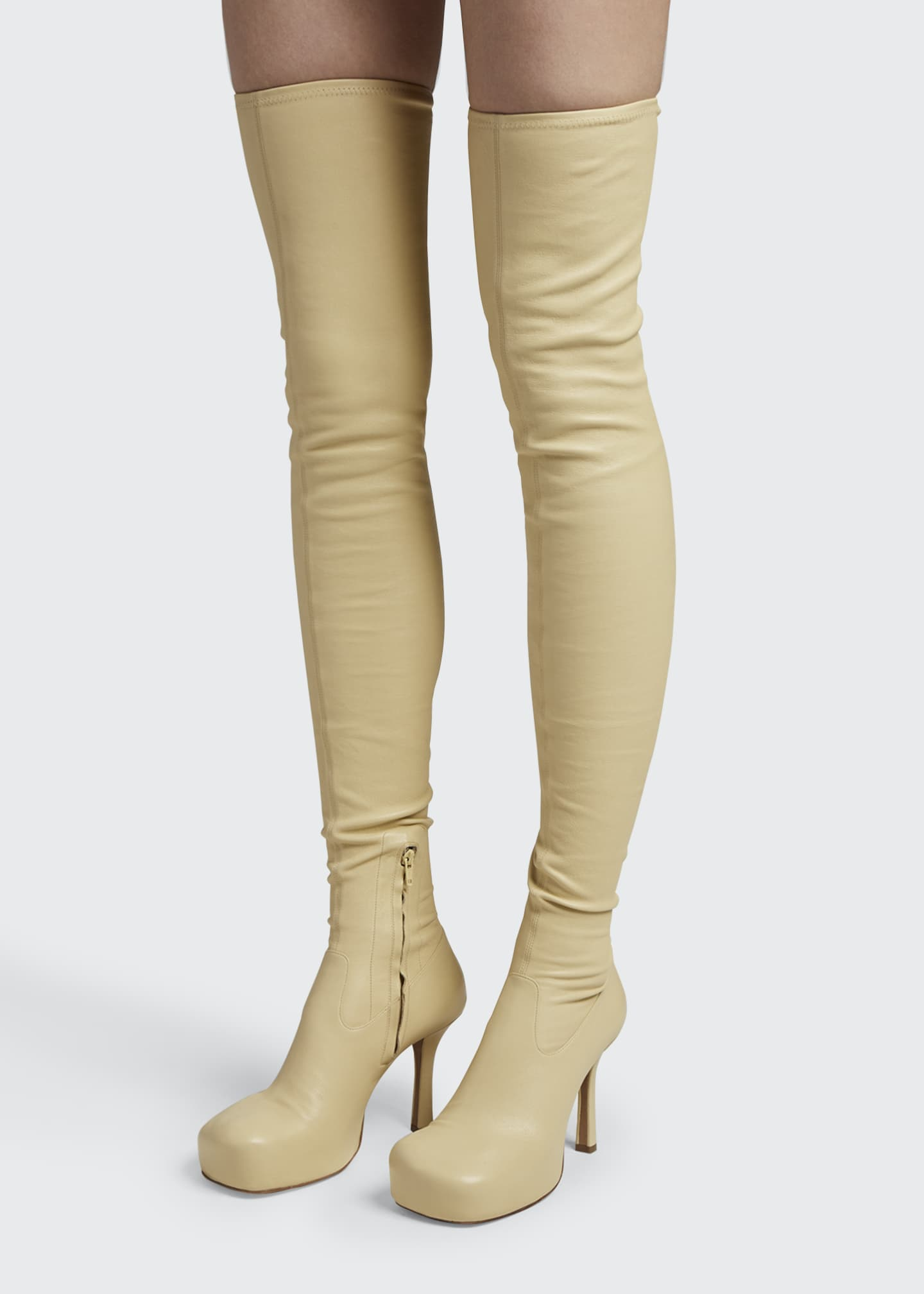 Image 2 of 4: Wave 105mm Platform Stretch Leather Over-the-Knee Boots