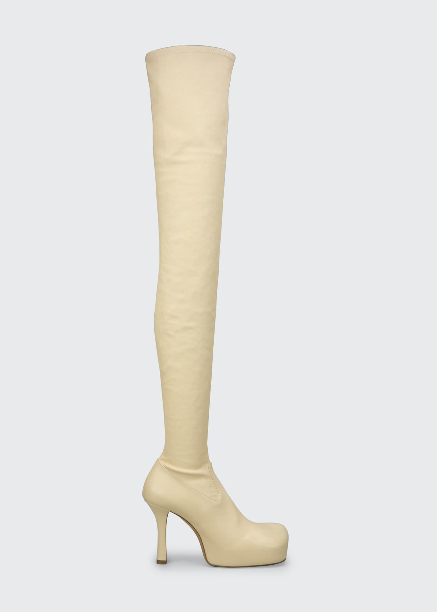 Image 1 of 4: Wave 105mm Platform Stretch Leather Over-the-Knee Boots