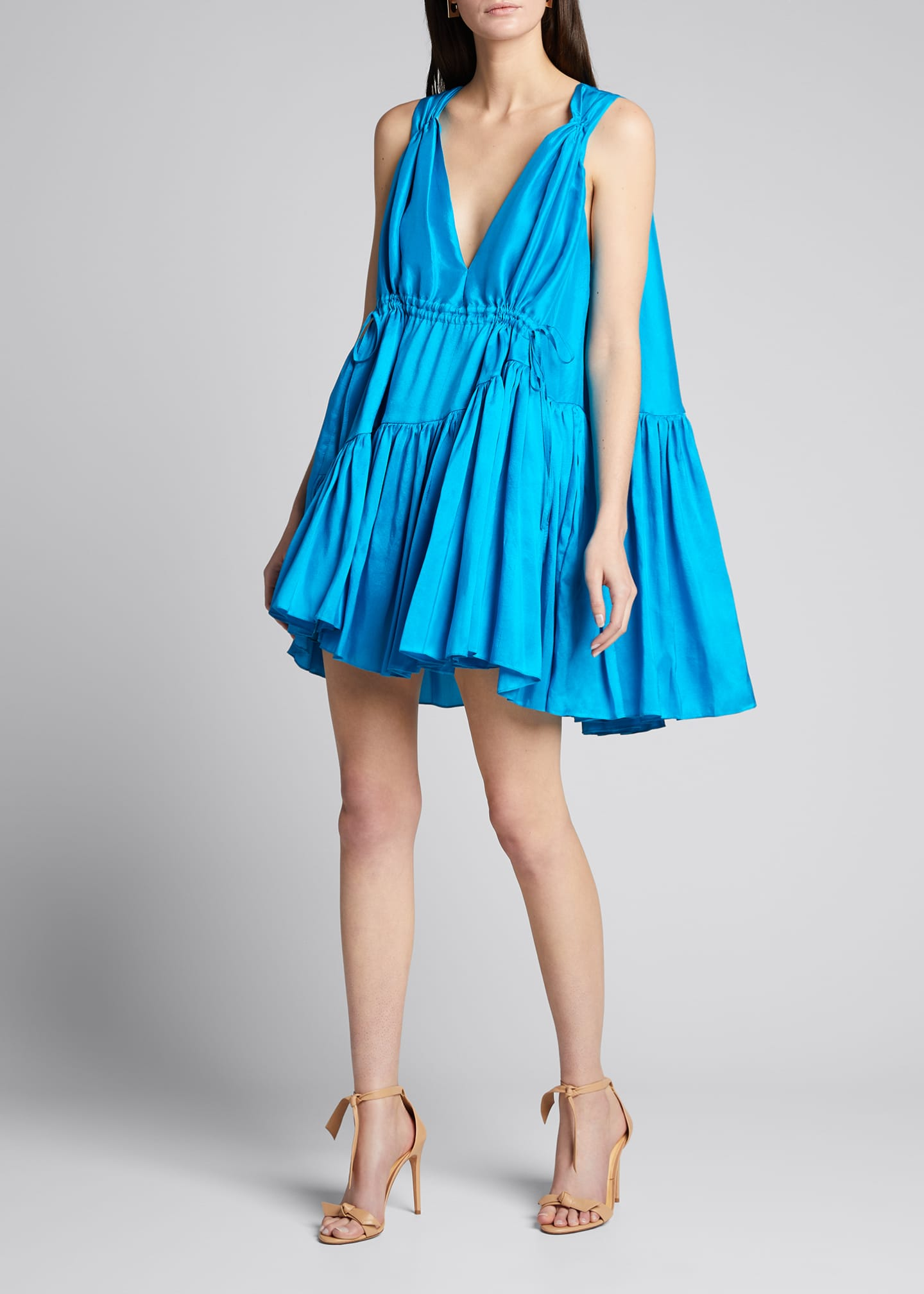 Image 3 of 5: Nella Gathered V-Neck Mini Dress