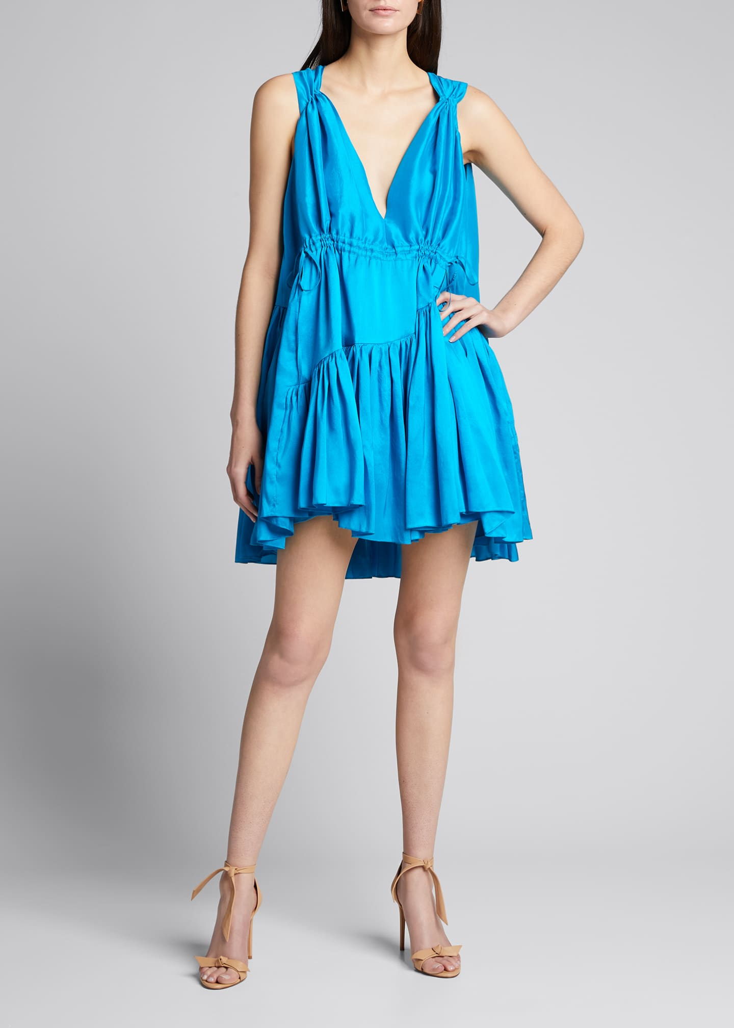 Image 1 of 5: Nella Gathered V-Neck Mini Dress