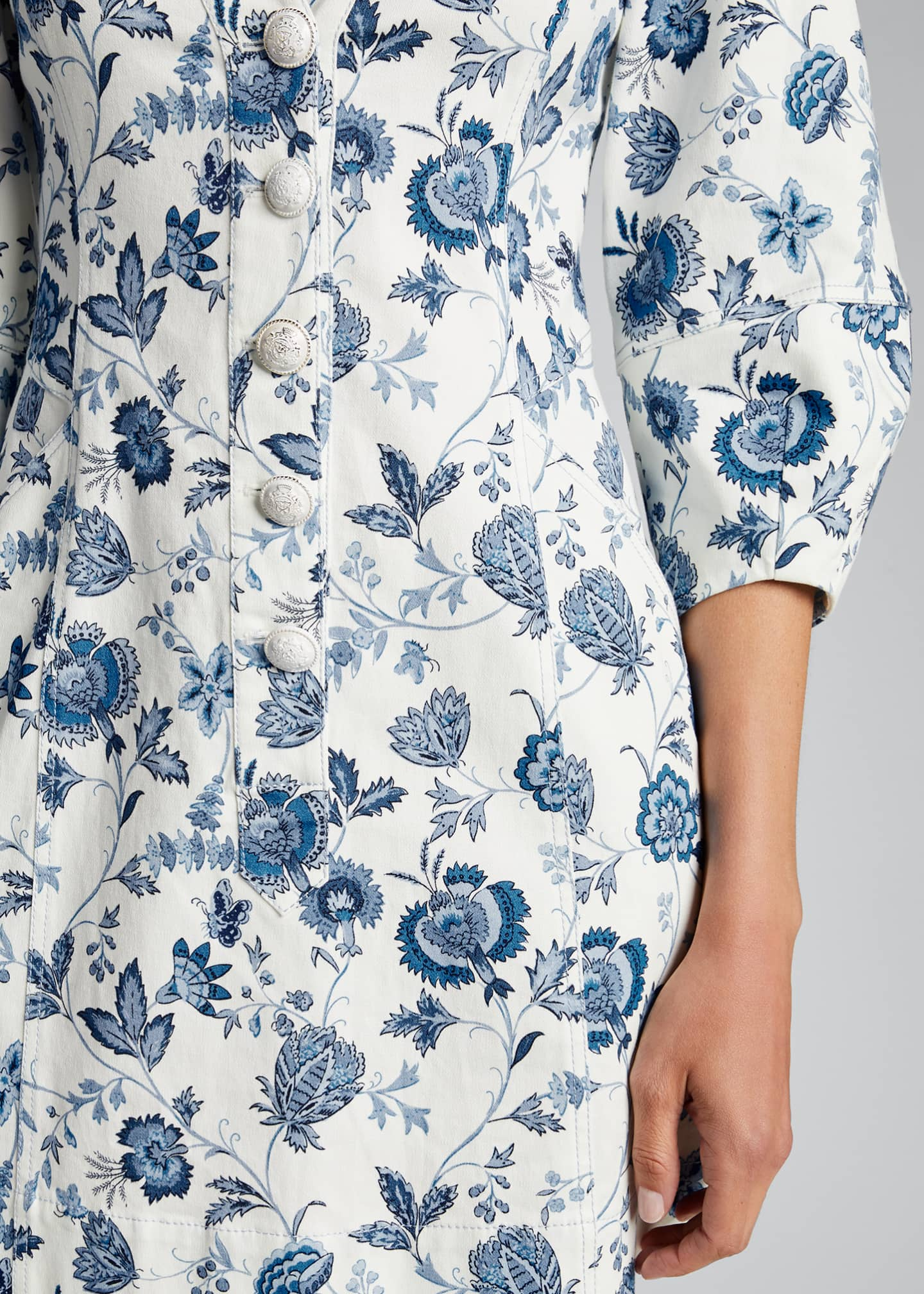 Image 4 of 5: Ottilie Floral Print 3/4-Sleeve Dress