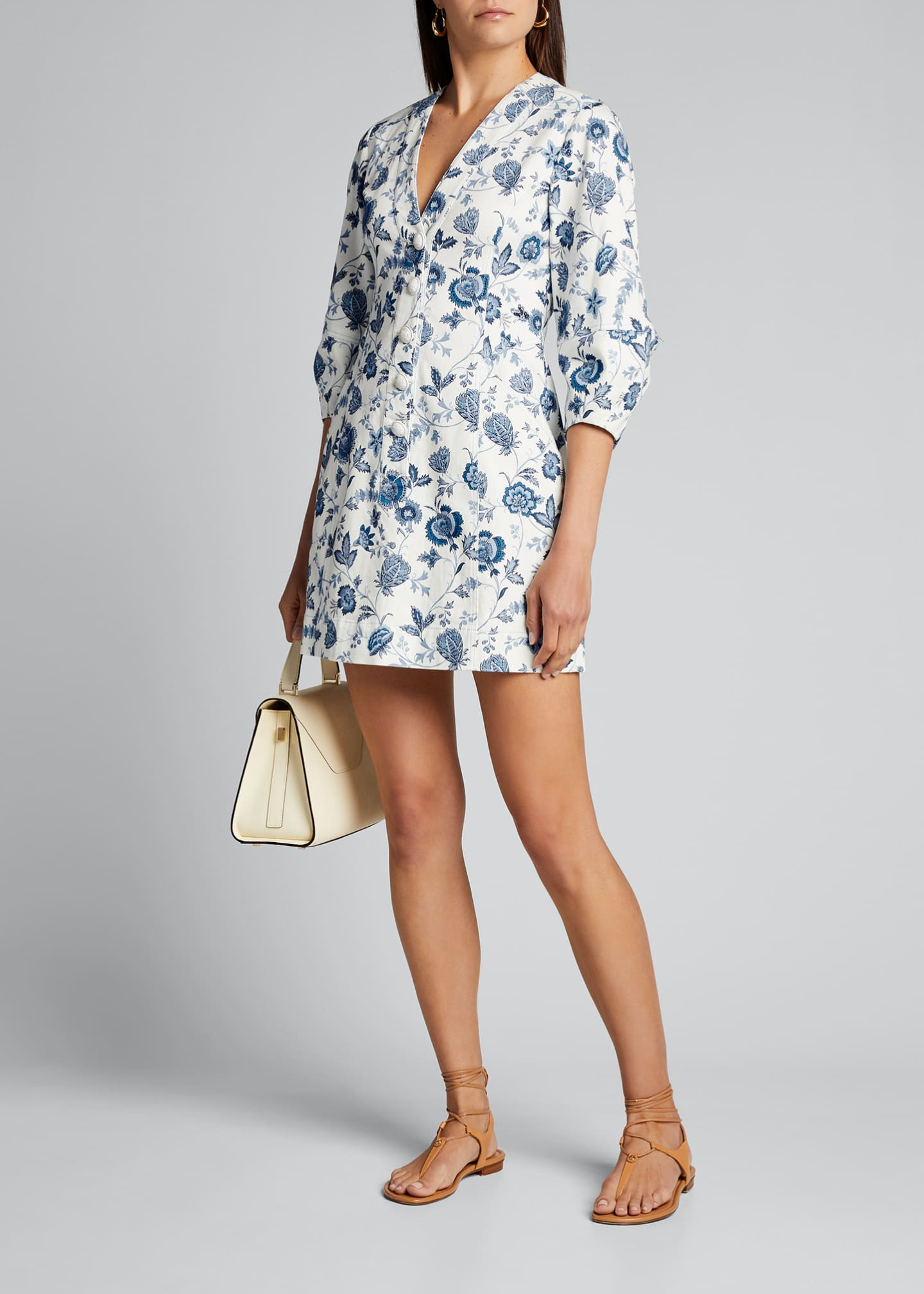 Image 1 of 5: Ottilie Floral Print 3/4-Sleeve Dress