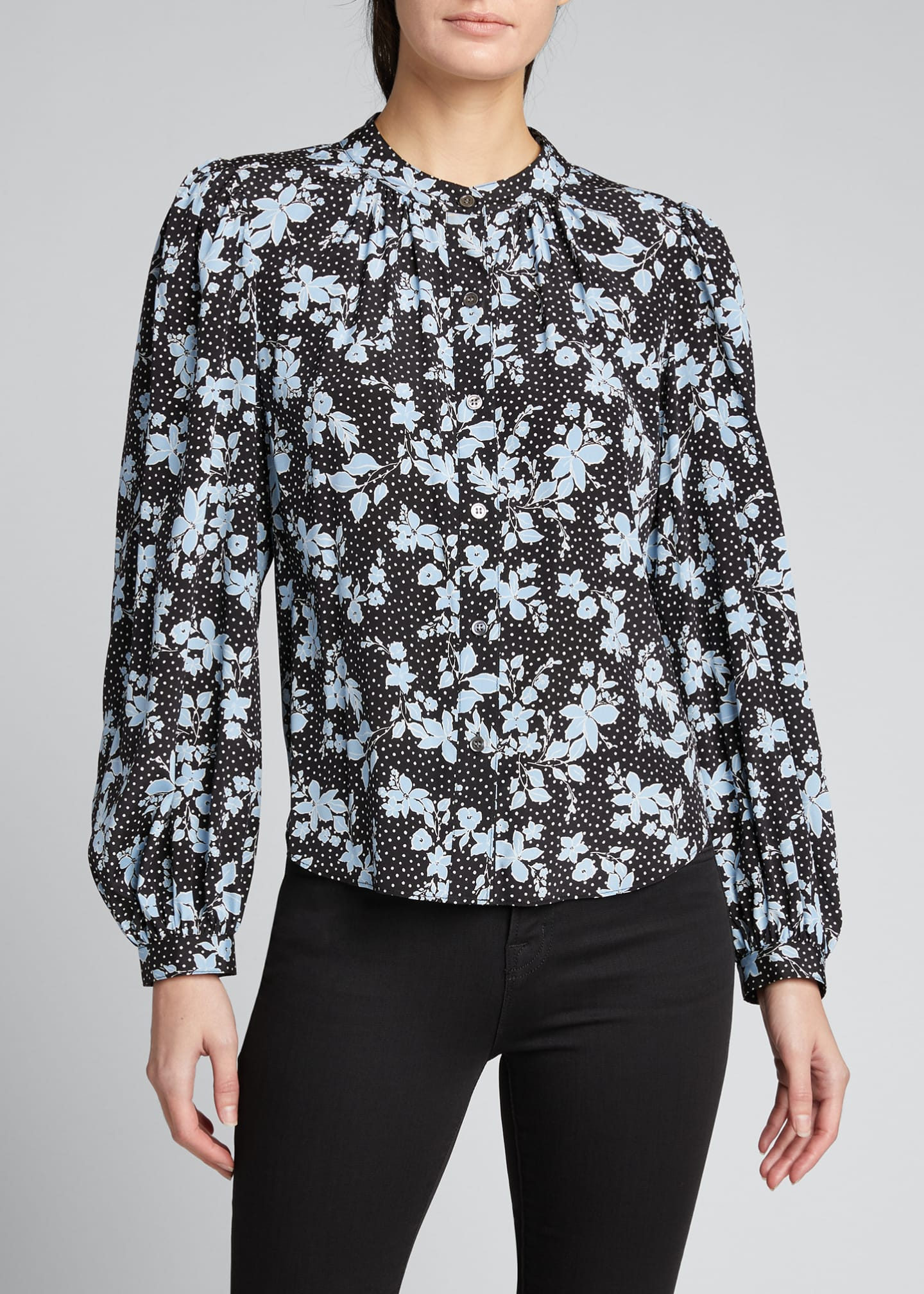 Image 3 of 5: Ashlynn Dotted Floral Print Blouse