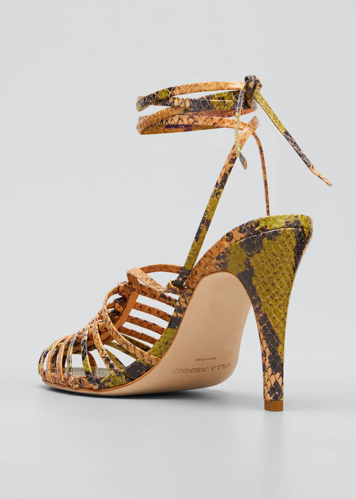 Image 4 of 5: Kennetta 95mm Snake-Print Ankle-Tie Pumps