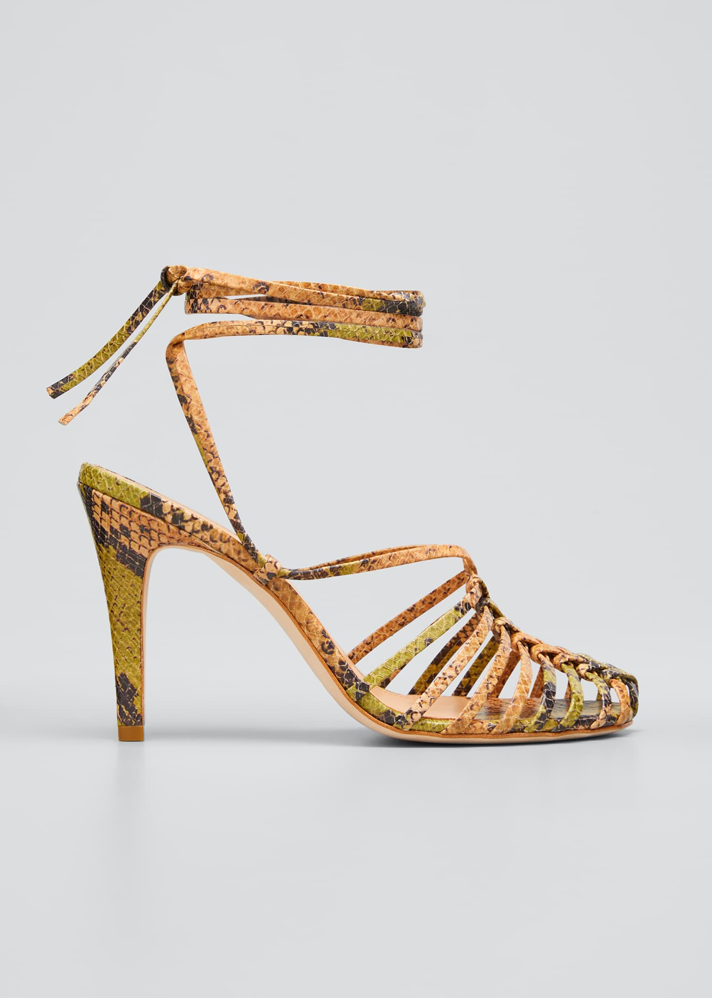 Image 1 of 5: Kennetta 95mm Snake-Print Ankle-Tie Pumps