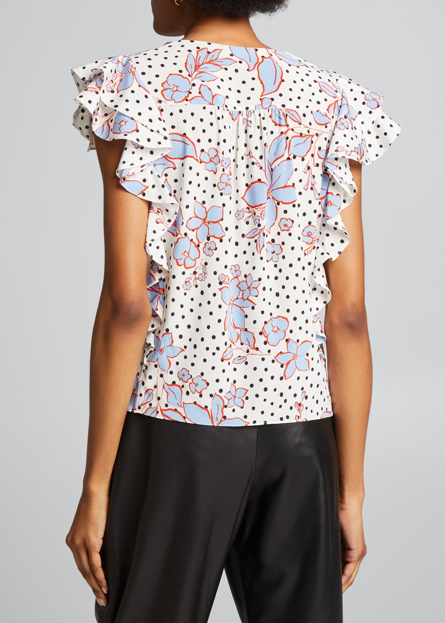 Image 2 of 5: Joi Dot-Print Floral Ruffle Top