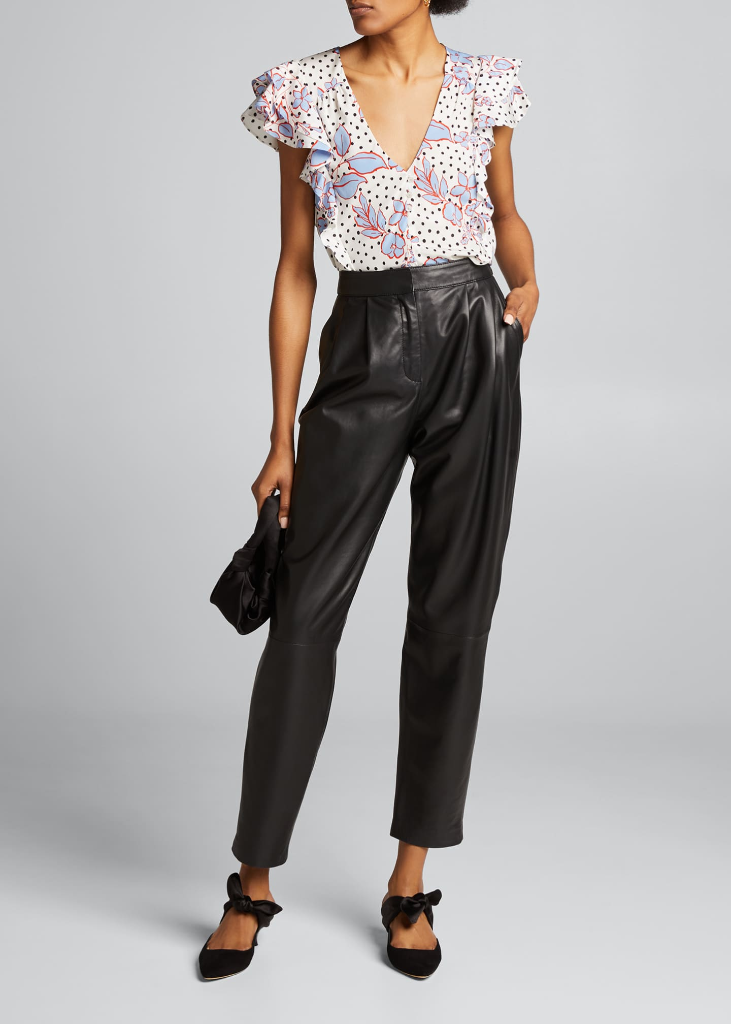 Image 1 of 5: Joi Dot-Print Floral Ruffle Top