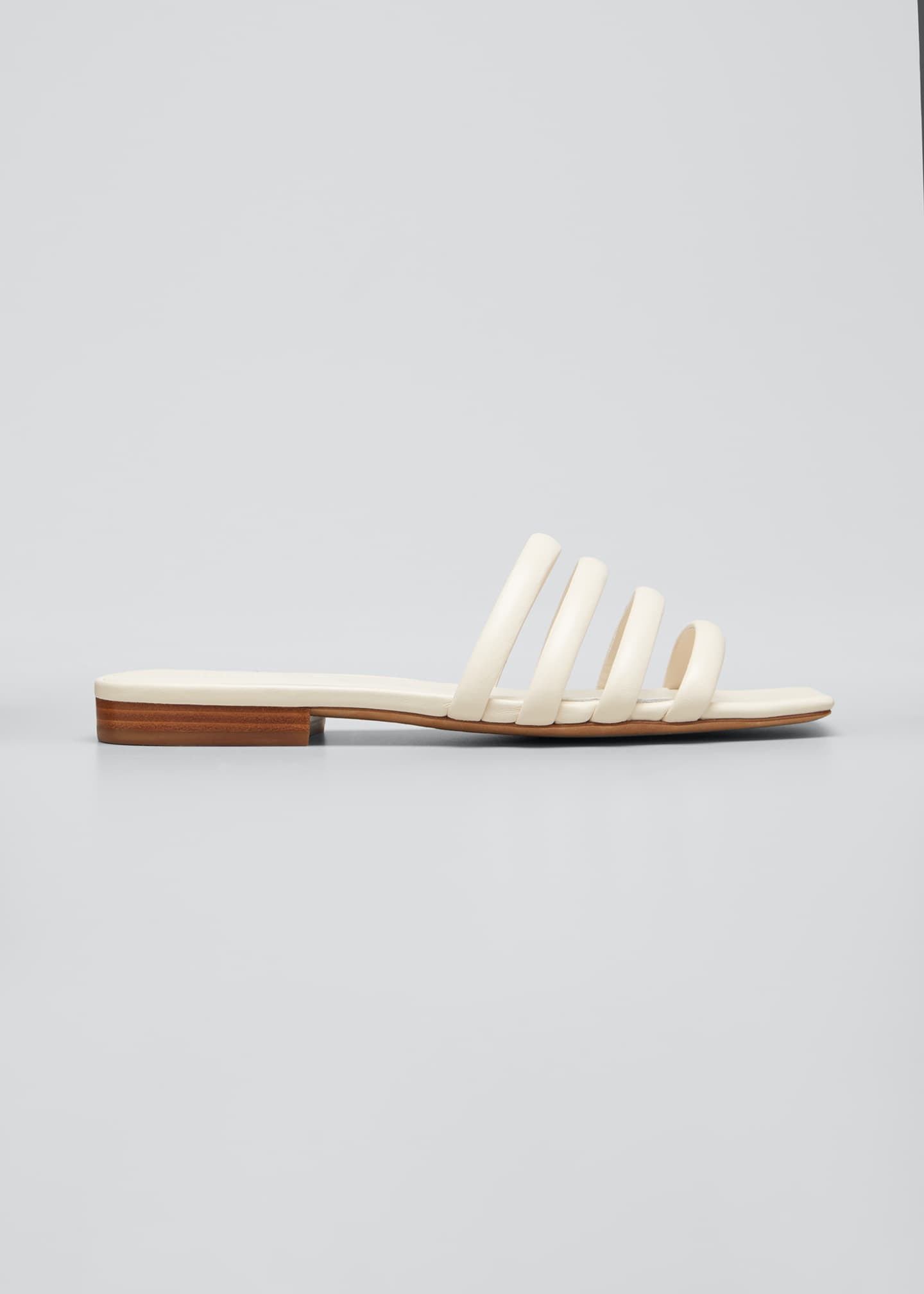 Image 1 of 5: Zahara Flat Leather Slide Sandals