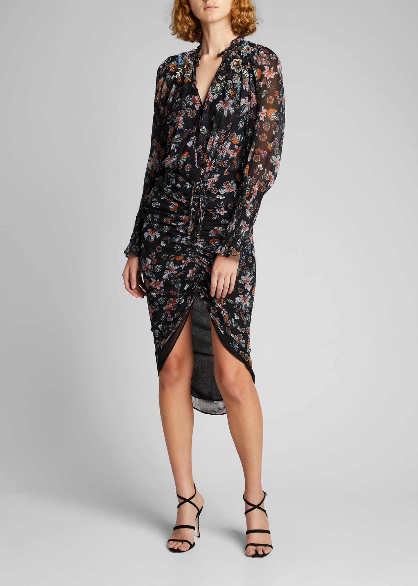 Image 1 of 5: Shaia Floral Ruched Dress