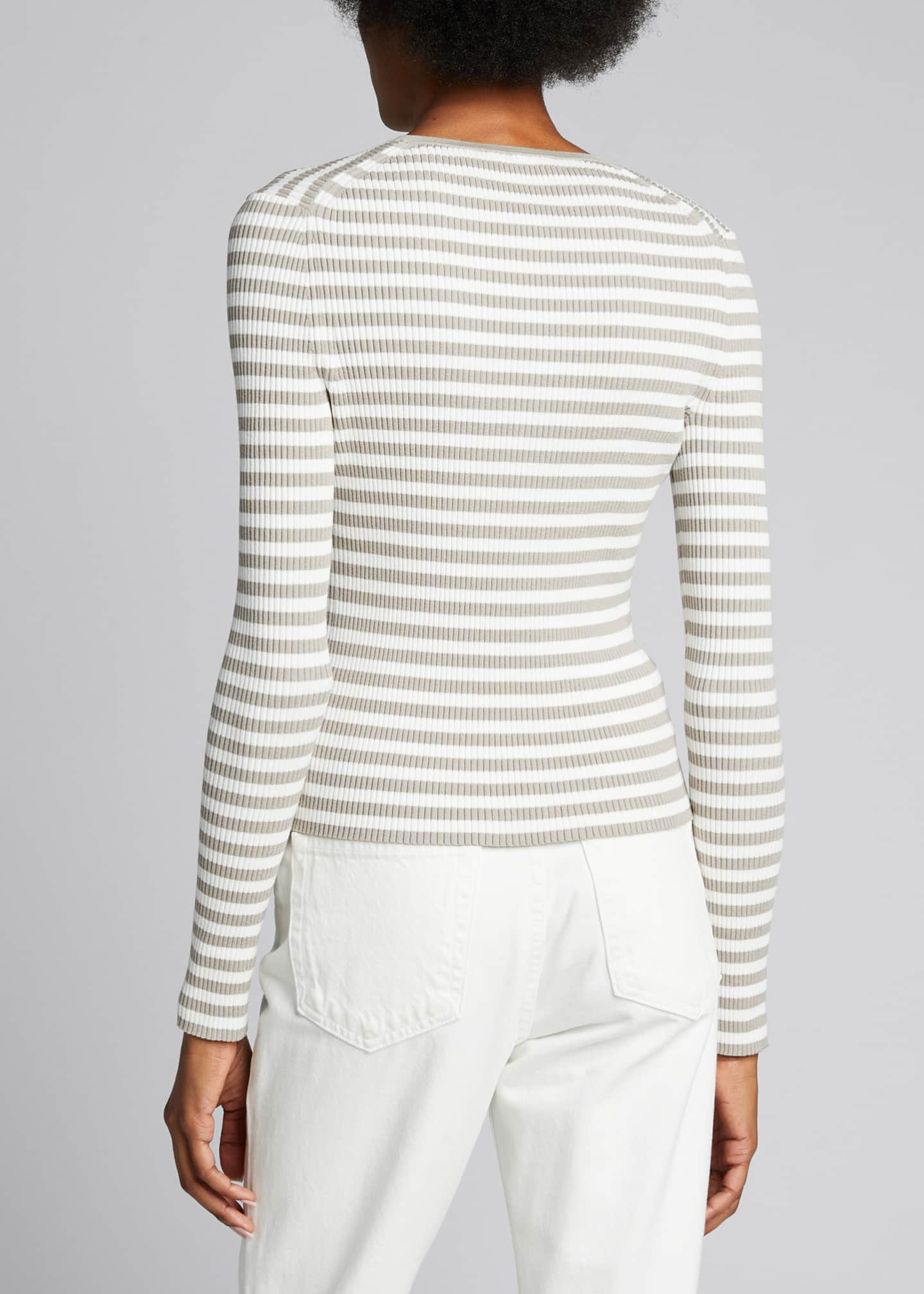 Image 2 of 5: Striped Ribbed Cardigan