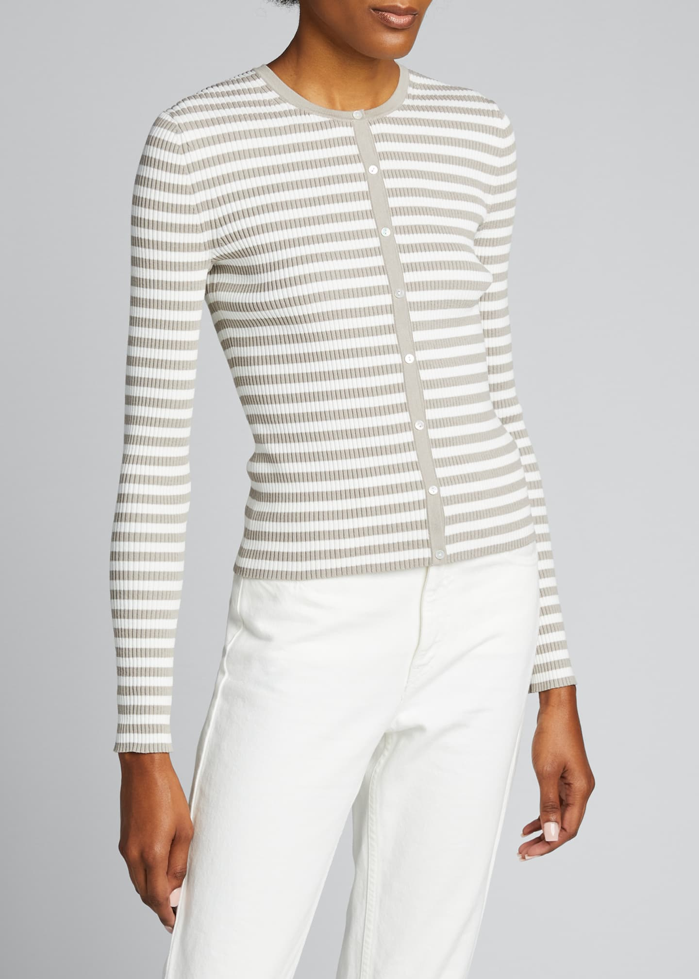 Image 3 of 5: Striped Ribbed Cardigan