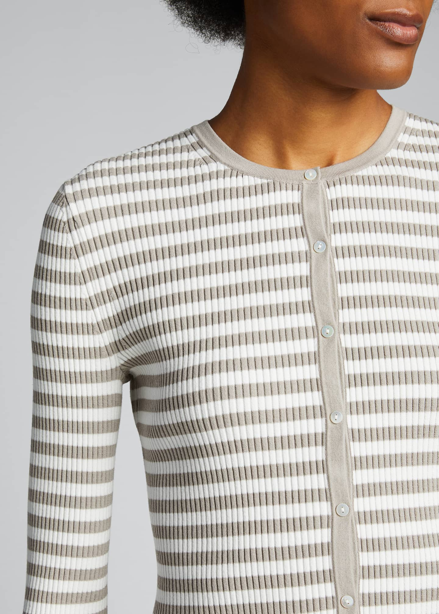Image 4 of 5: Striped Ribbed Cardigan