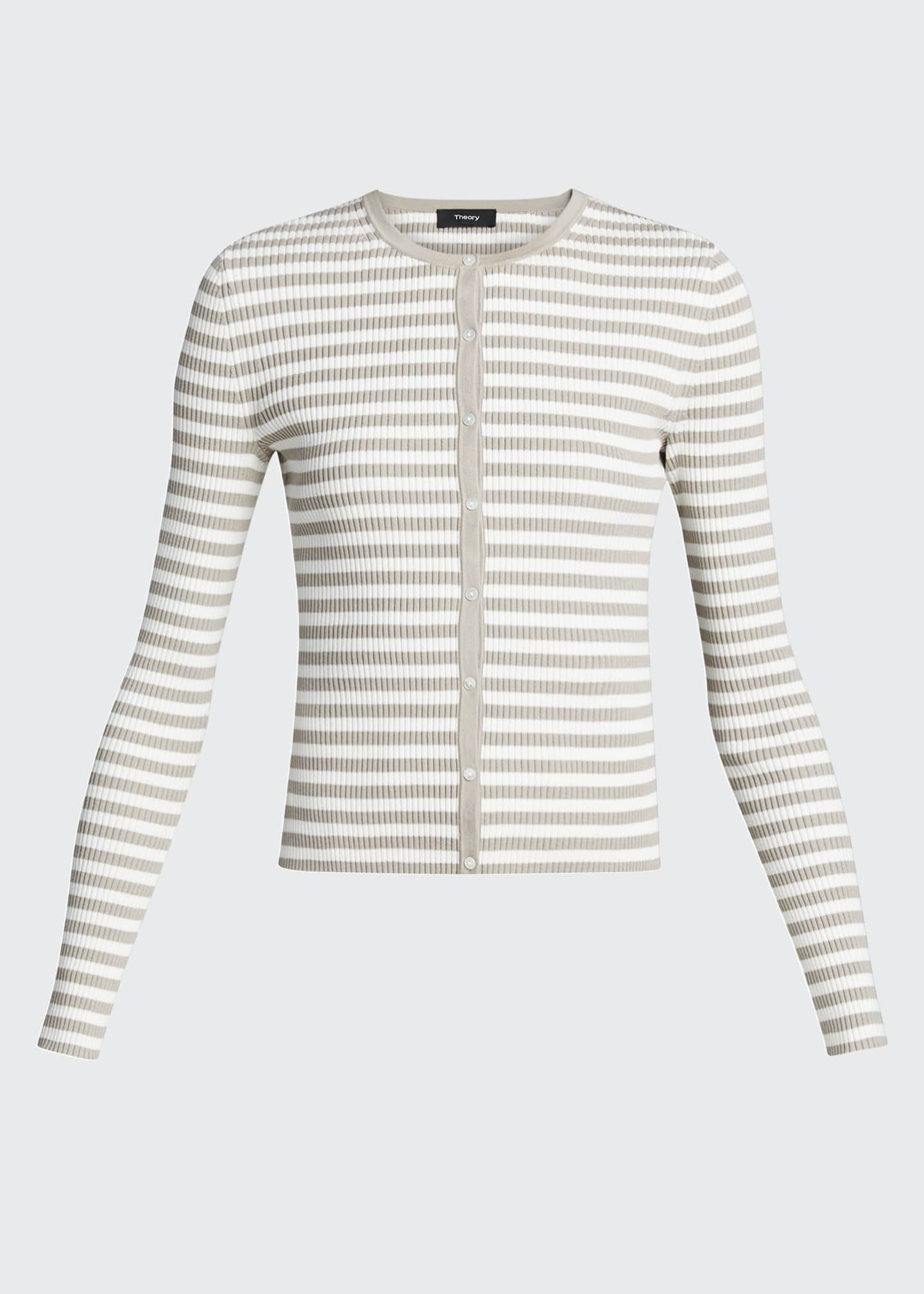 Image 5 of 5: Striped Ribbed Cardigan