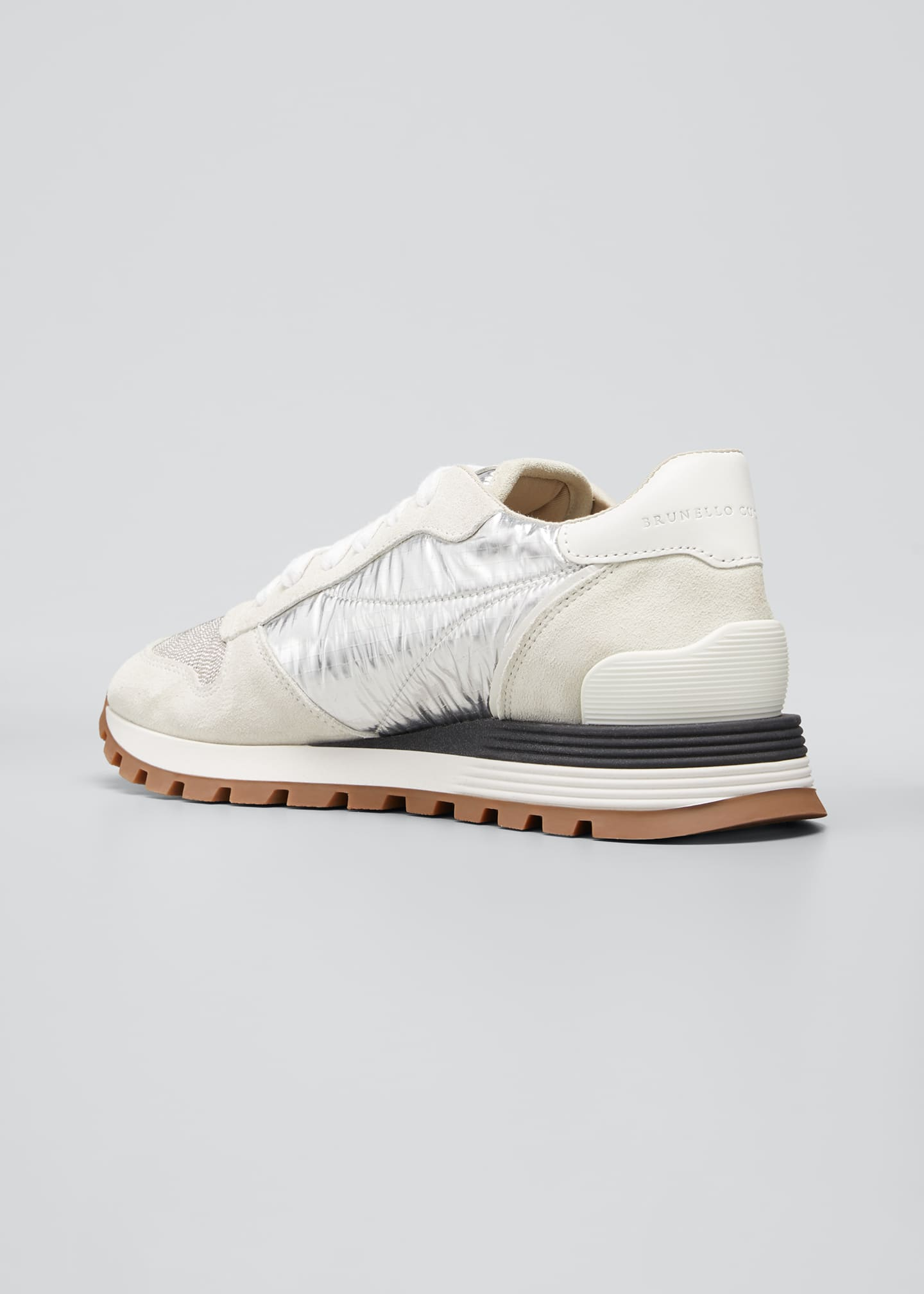 Image 4 of 5: Suede/Sparkling Ripstop Running Sneakers with Monili Toe