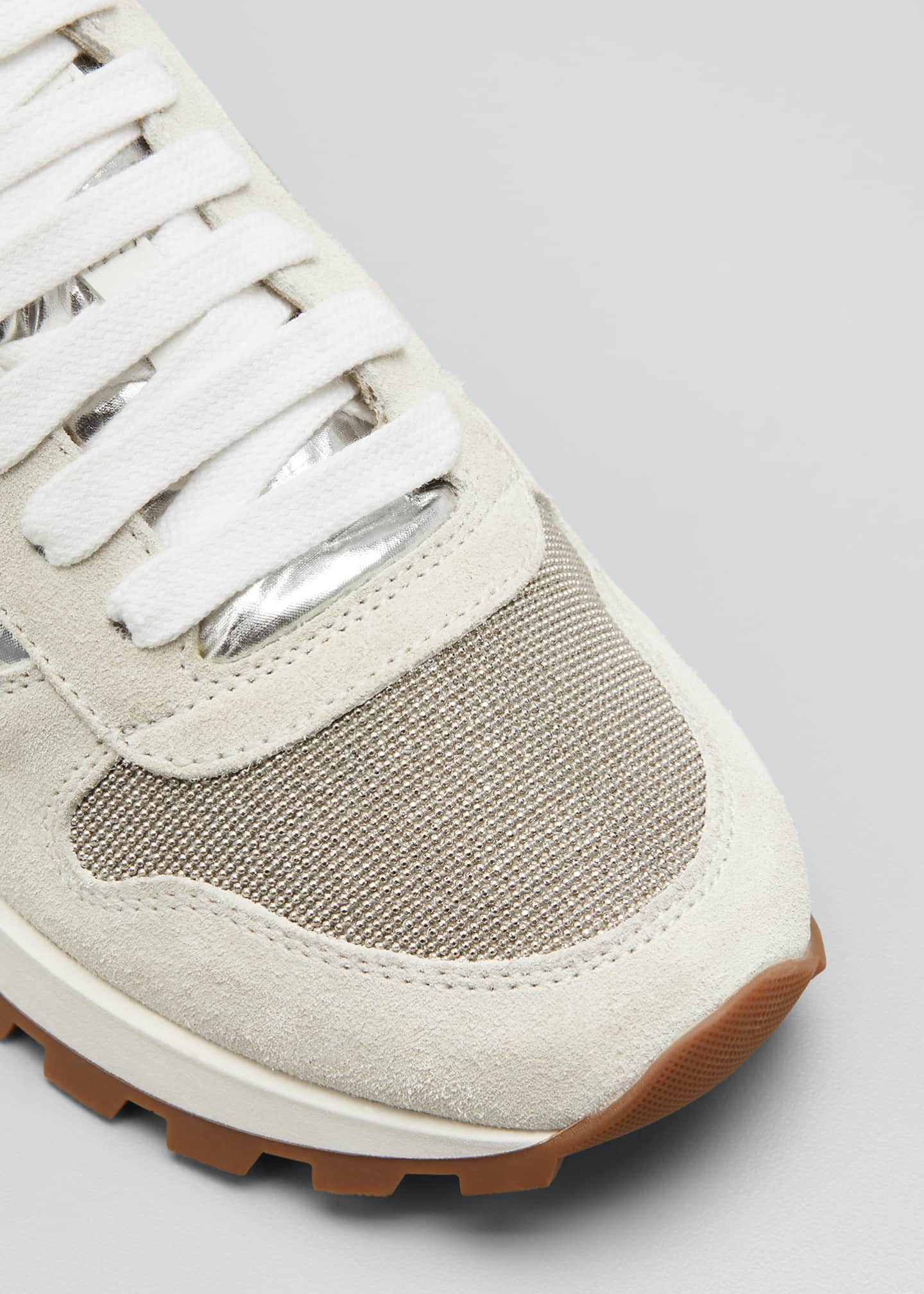 Image 5 of 5: Suede/Sparkling Ripstop Running Sneakers with Monili Toe