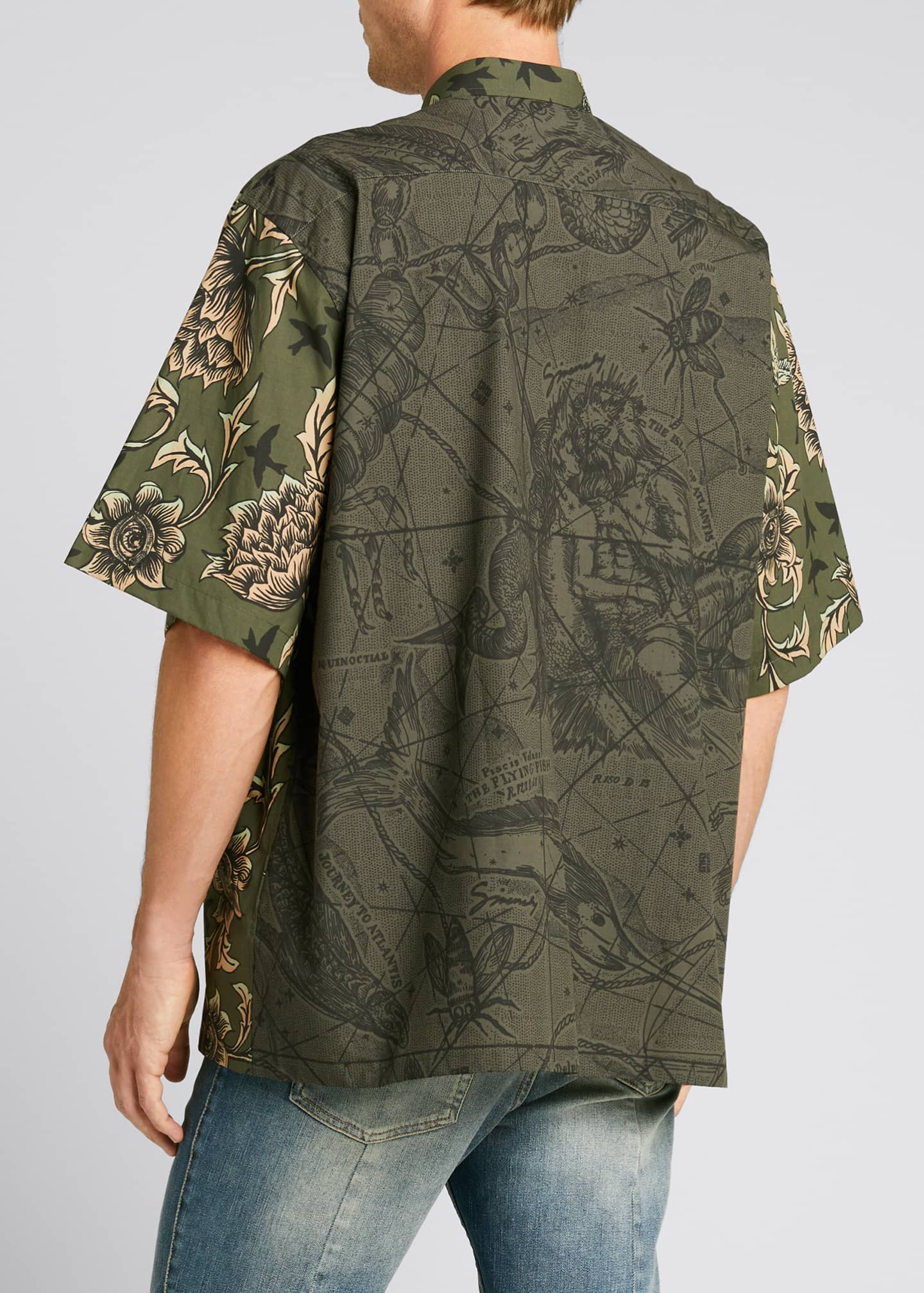 Image 2 of 5: Men's Floral Astro-Print Sport Shirt