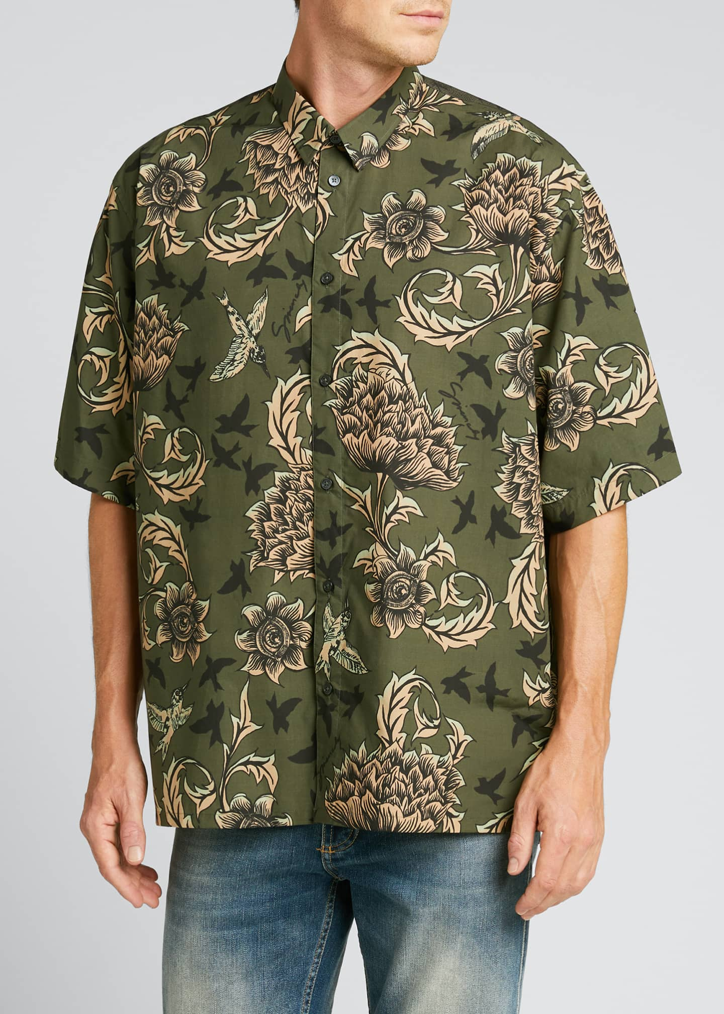 Image 3 of 5: Men's Floral Astro-Print Sport Shirt