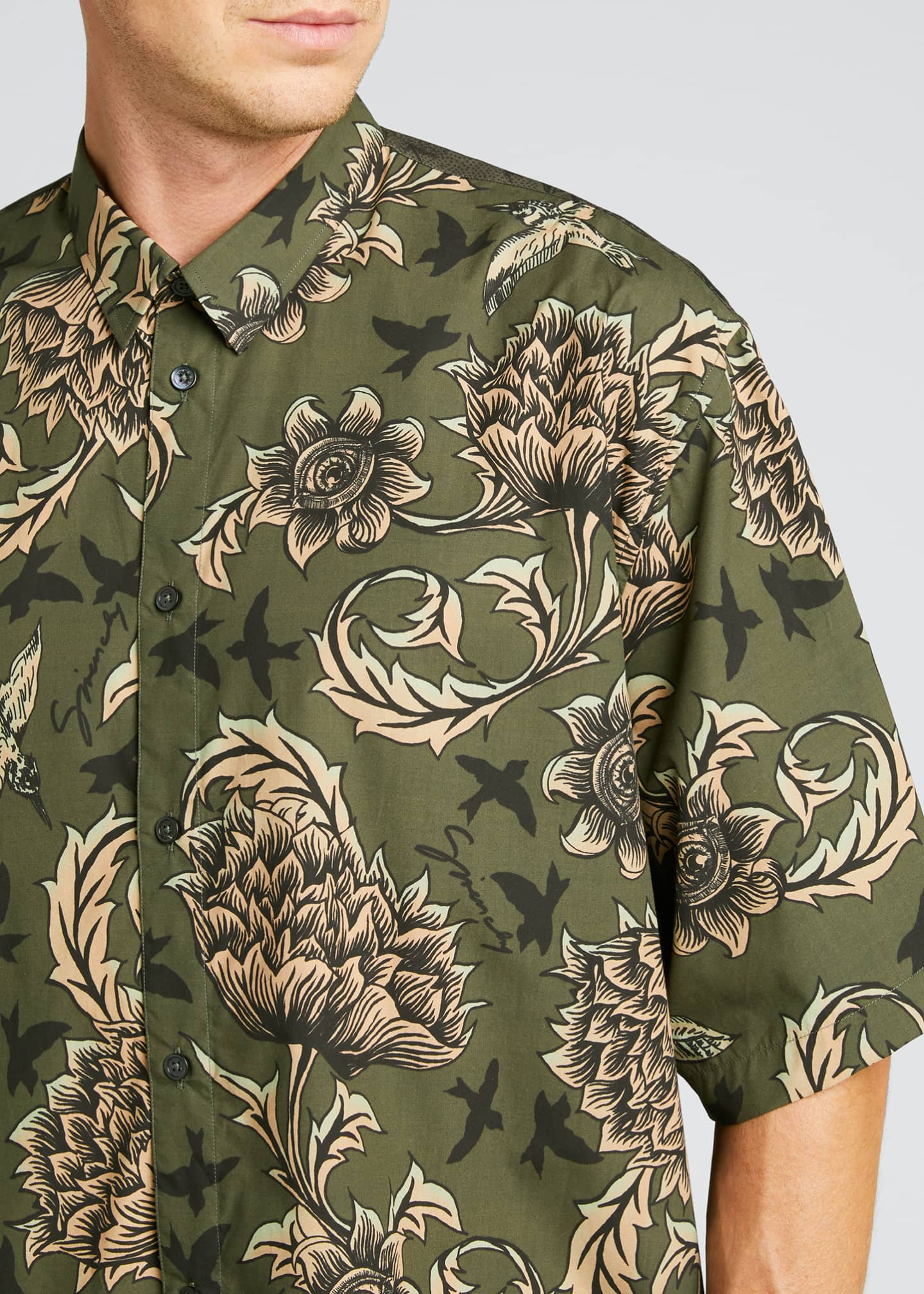 Image 4 of 5: Men's Floral Astro-Print Sport Shirt