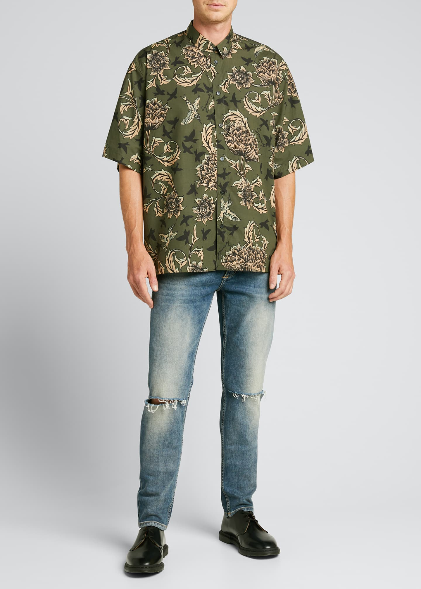 Image 1 of 5: Men's Floral Astro-Print Sport Shirt