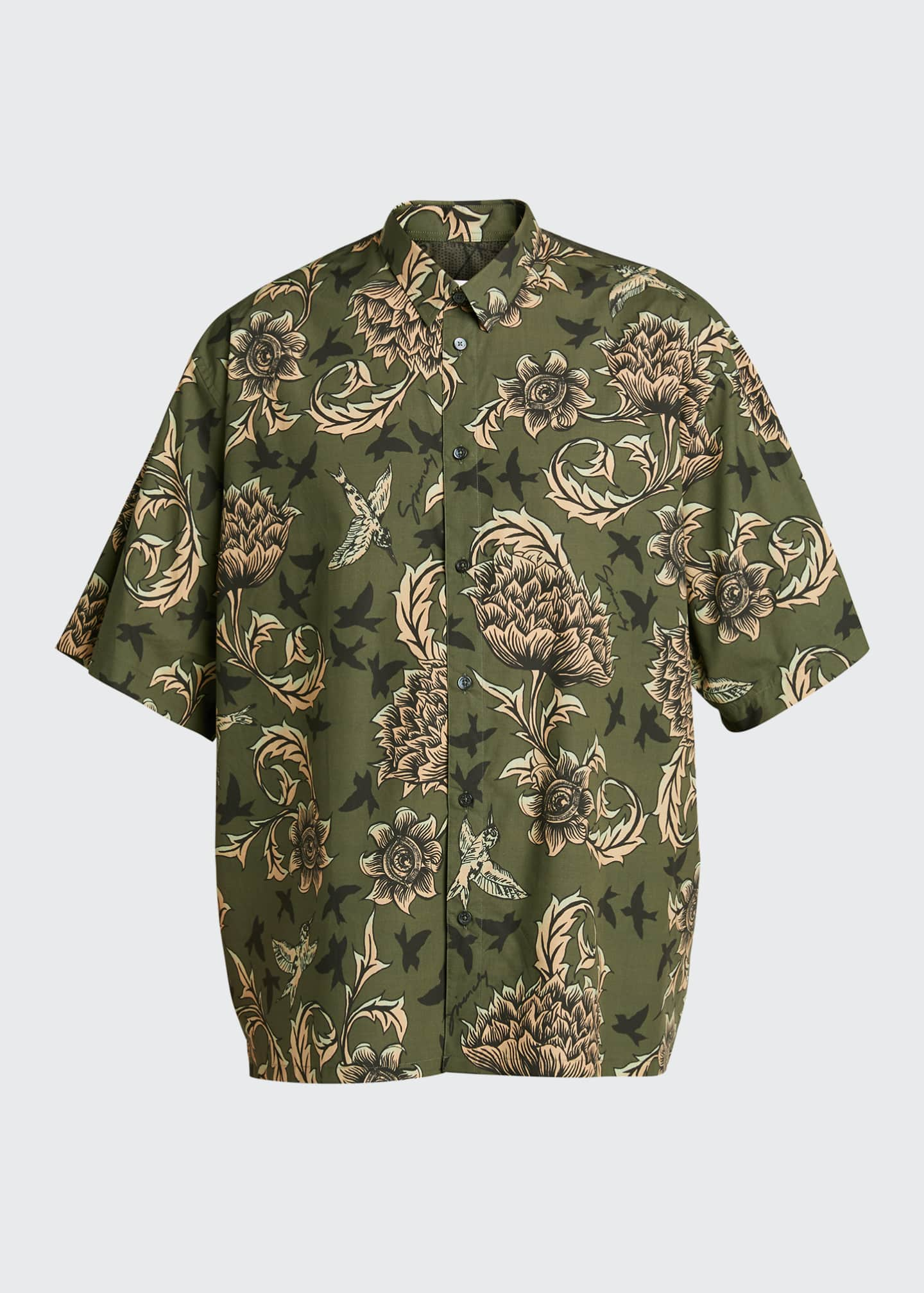 Image 5 of 5: Men's Floral Astro-Print Sport Shirt