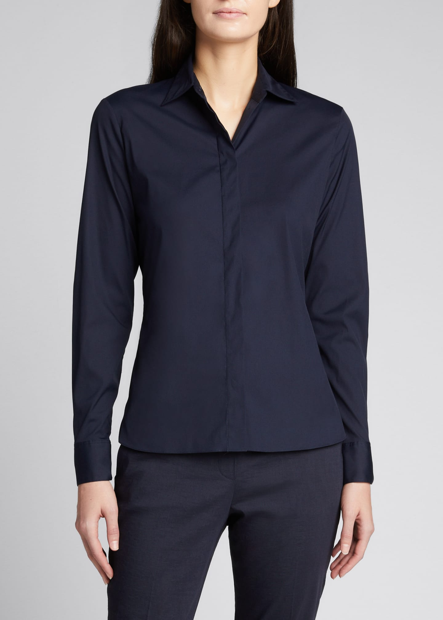 Image 3 of 5: Classic Straight Long-Sleeve Shirt