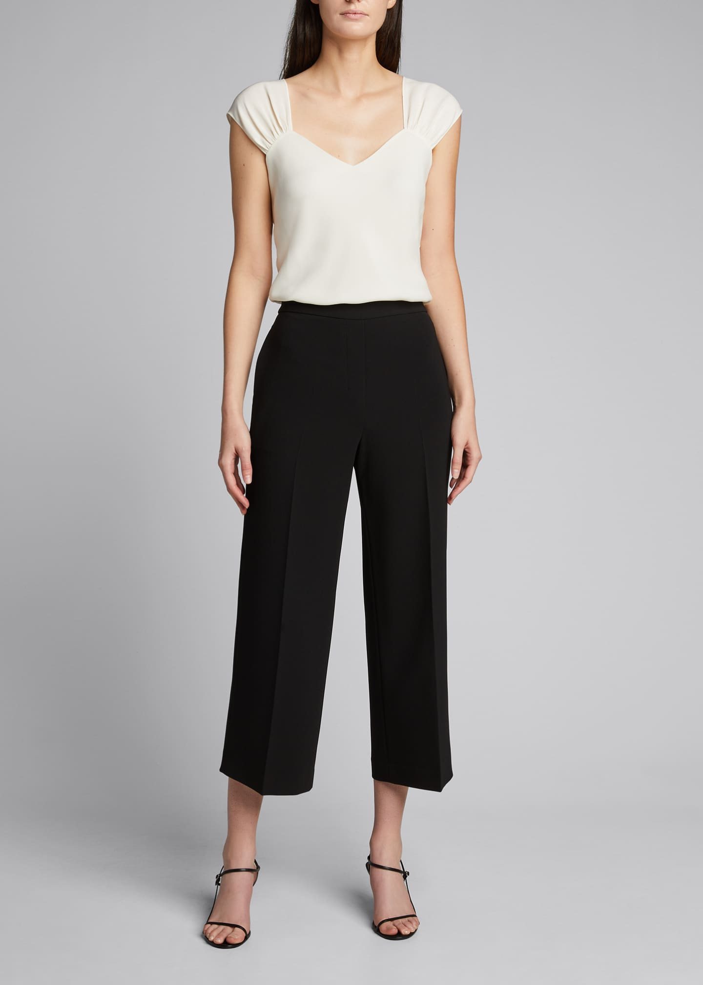 Image 1 of 5: Ruched V-Neck Sleeveless Top