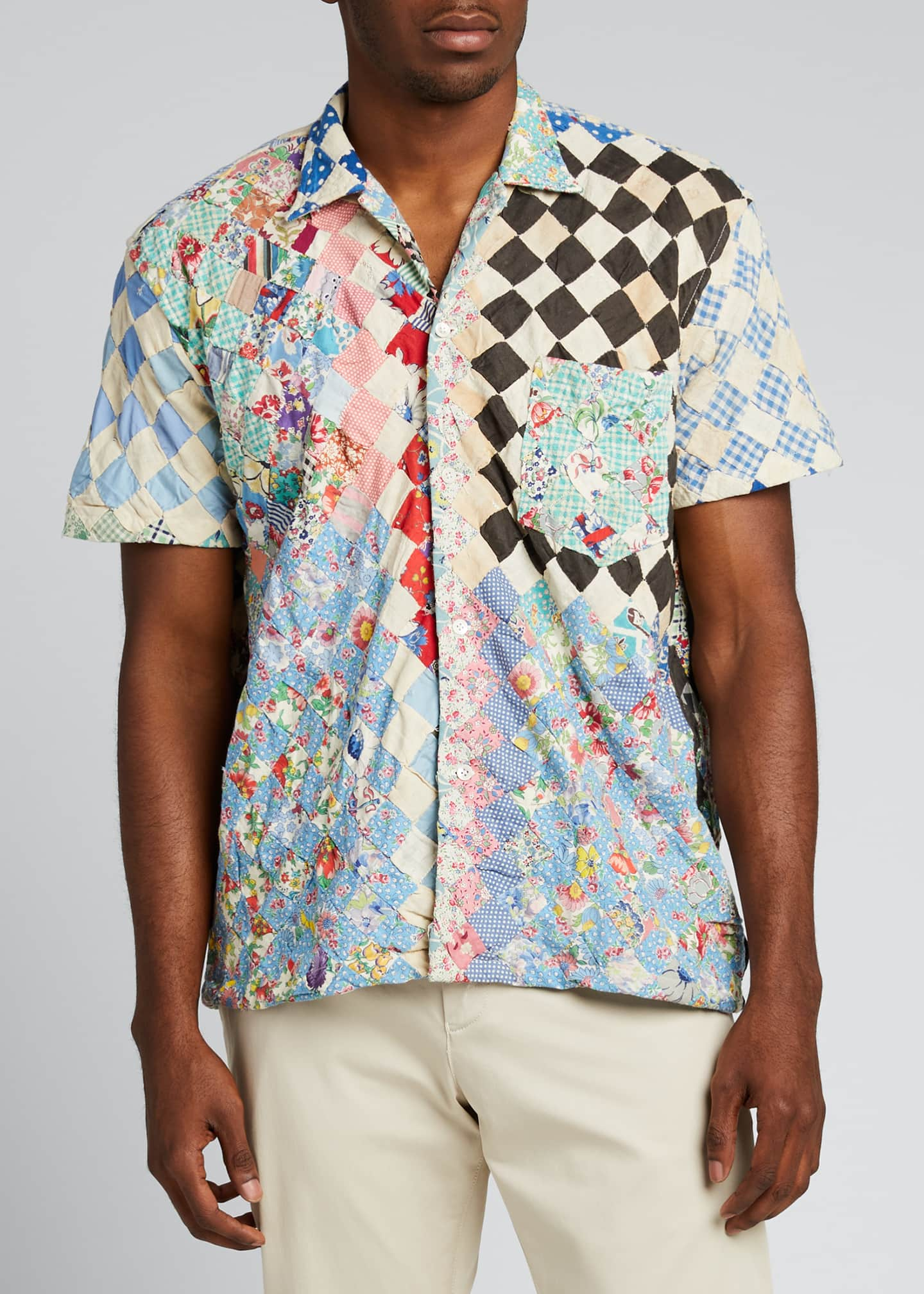 Image 3 of 5: Men's One-of-a-Kind Stamp Quilt Bowling Shirt