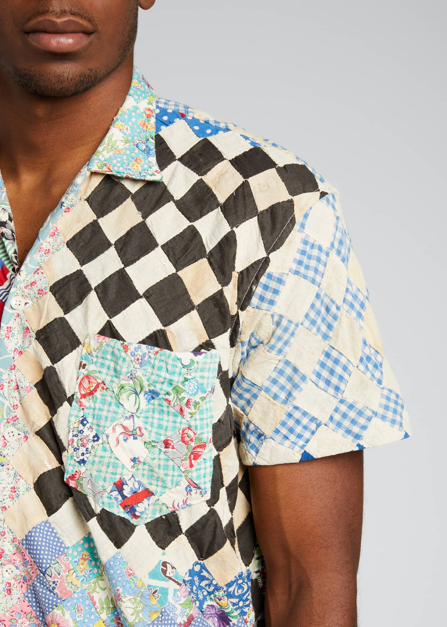 Image 4 of 5: Men's One-of-a-Kind Stamp Quilt Bowling Shirt