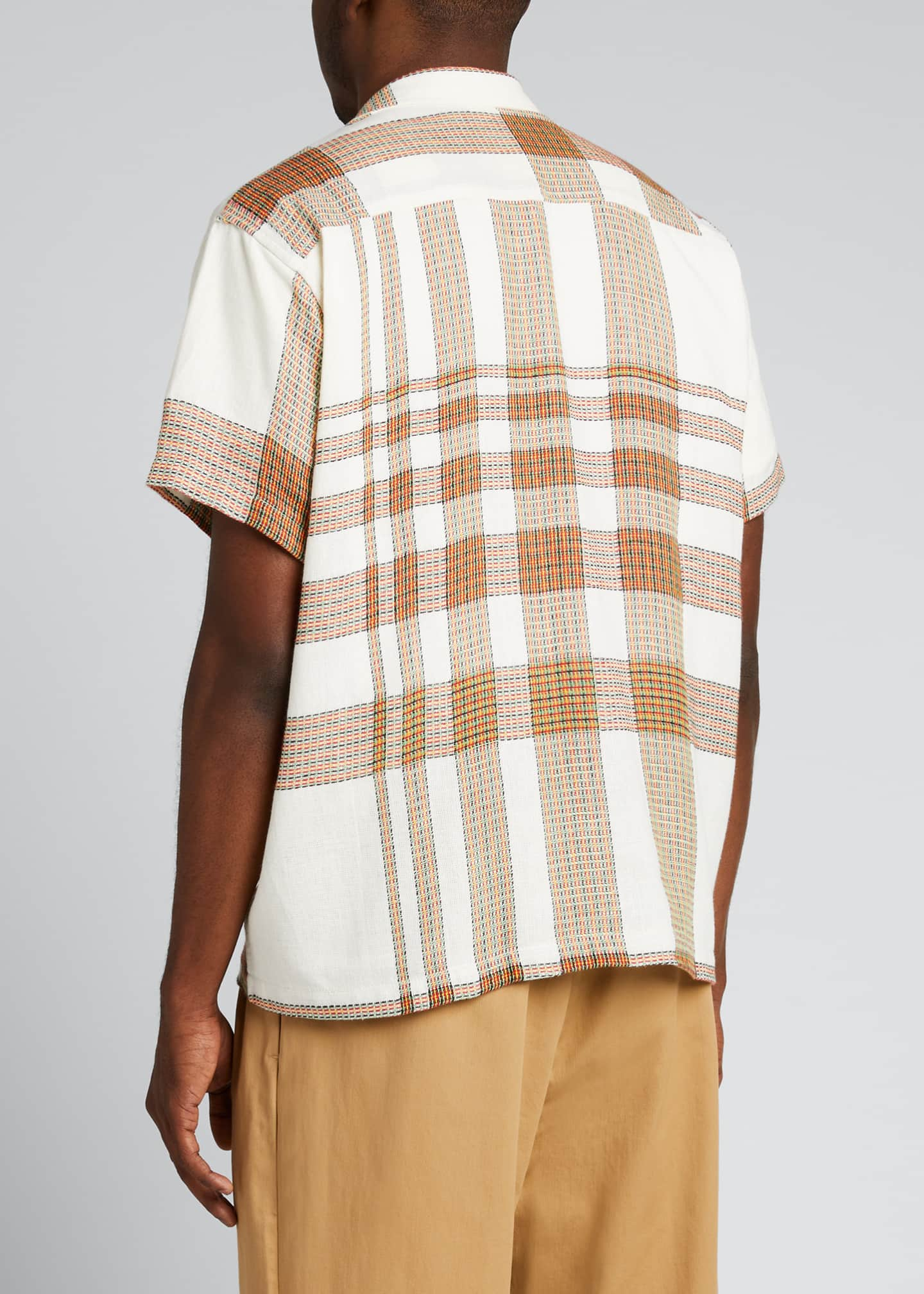 Image 2 of 5: Men's Plaid Linen Bowling Shirt