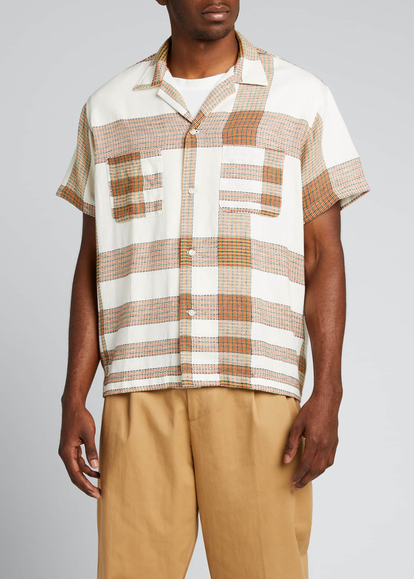 Image 3 of 5: Men's Plaid Linen Bowling Shirt