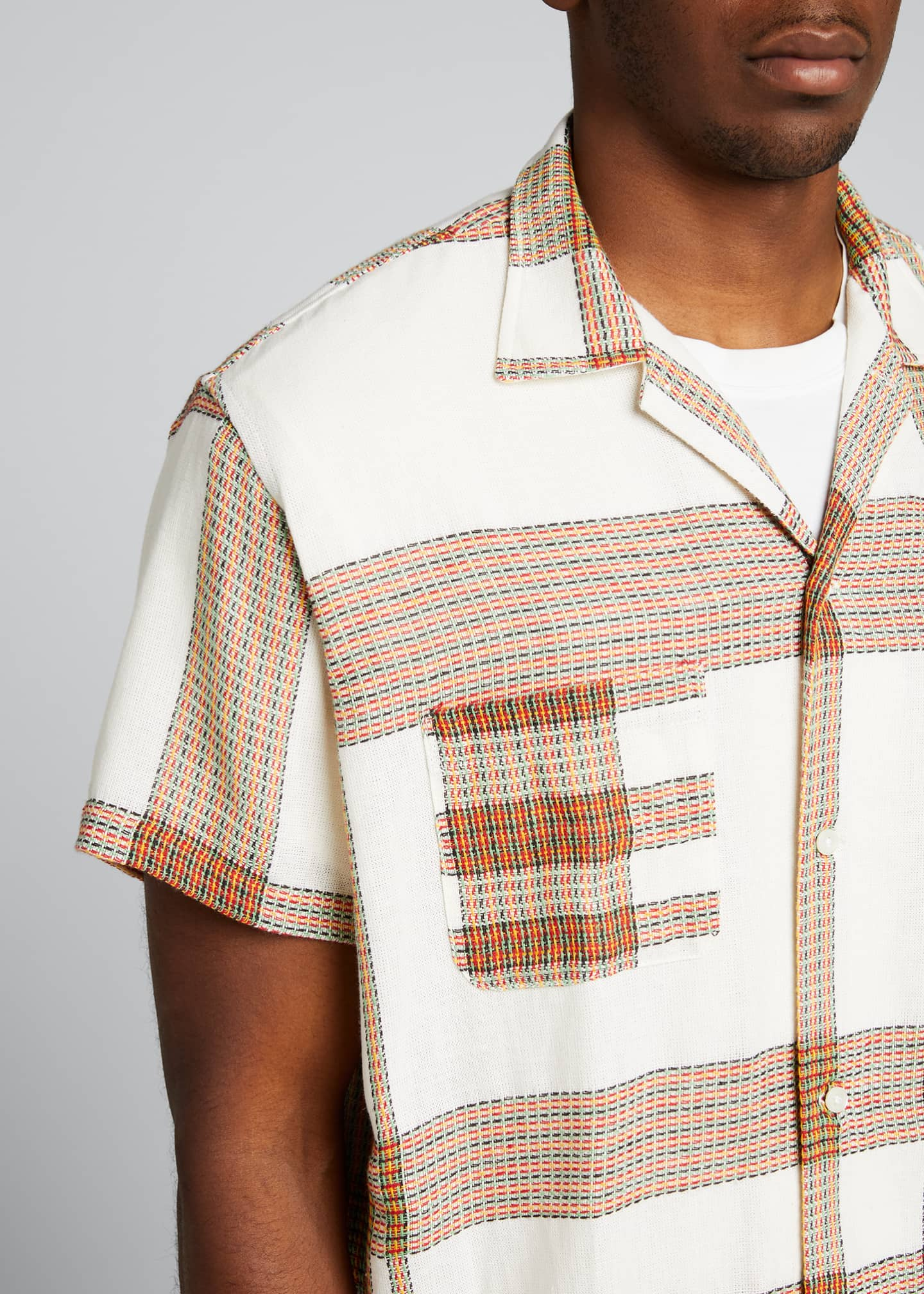 Image 4 of 5: Men's Plaid Linen Bowling Shirt