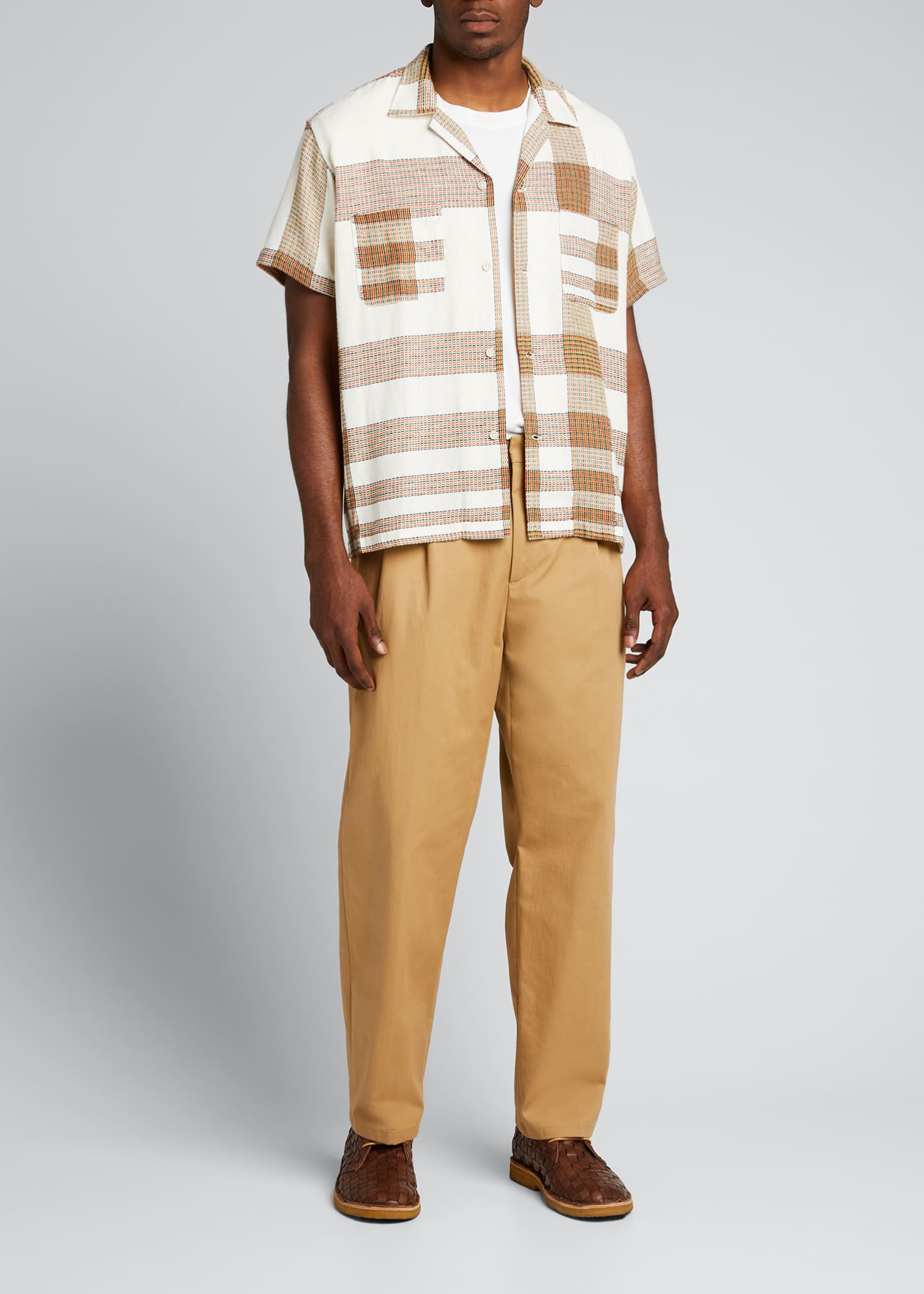 Image 1 of 5: Men's Plaid Linen Bowling Shirt