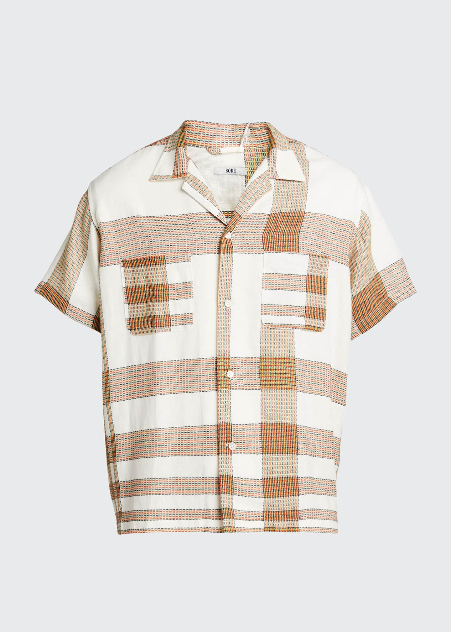 Image 5 of 5: Men's Plaid Linen Bowling Shirt