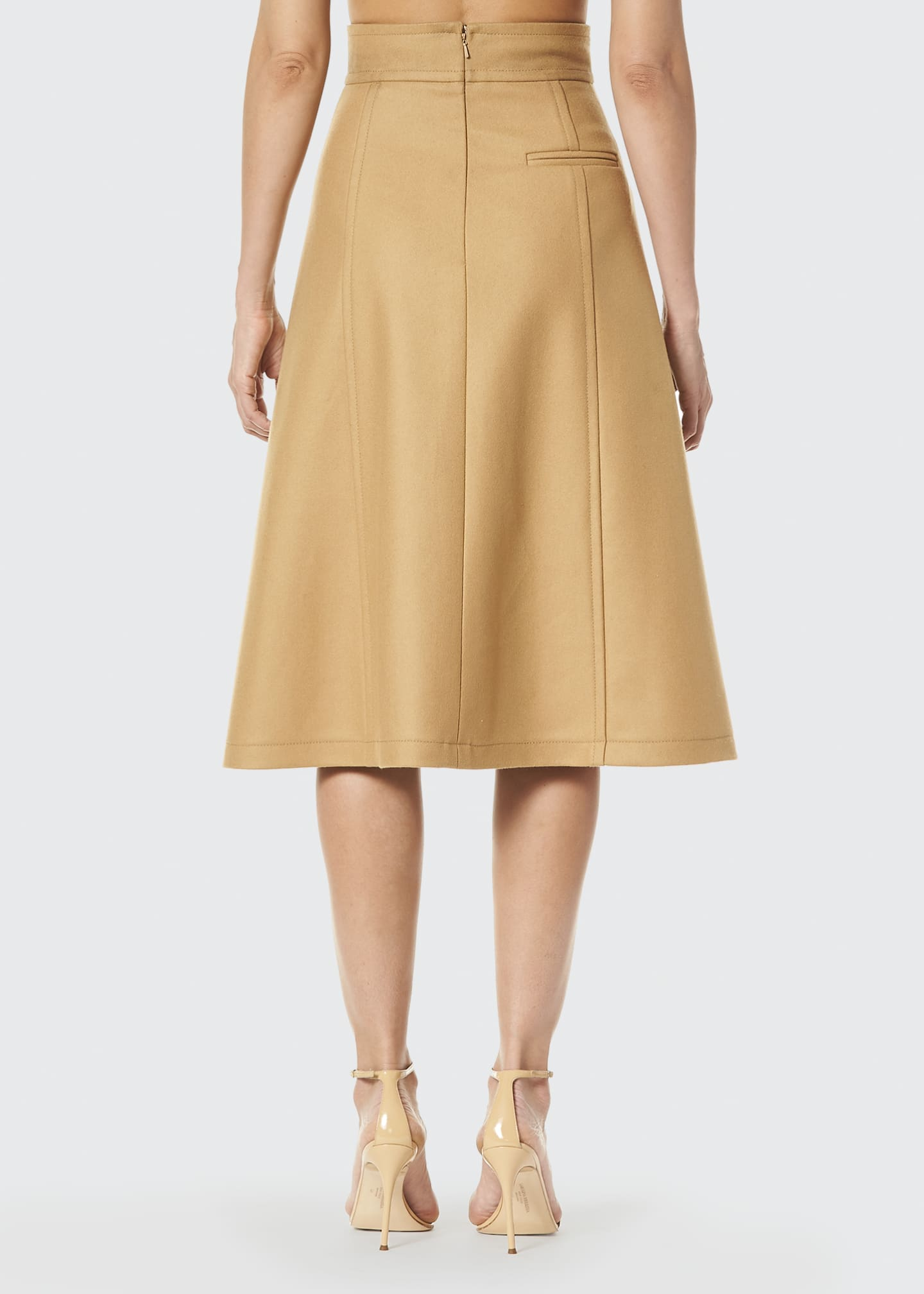 Image 2 of 3: Virgin Wool A-Line Midi Skirt