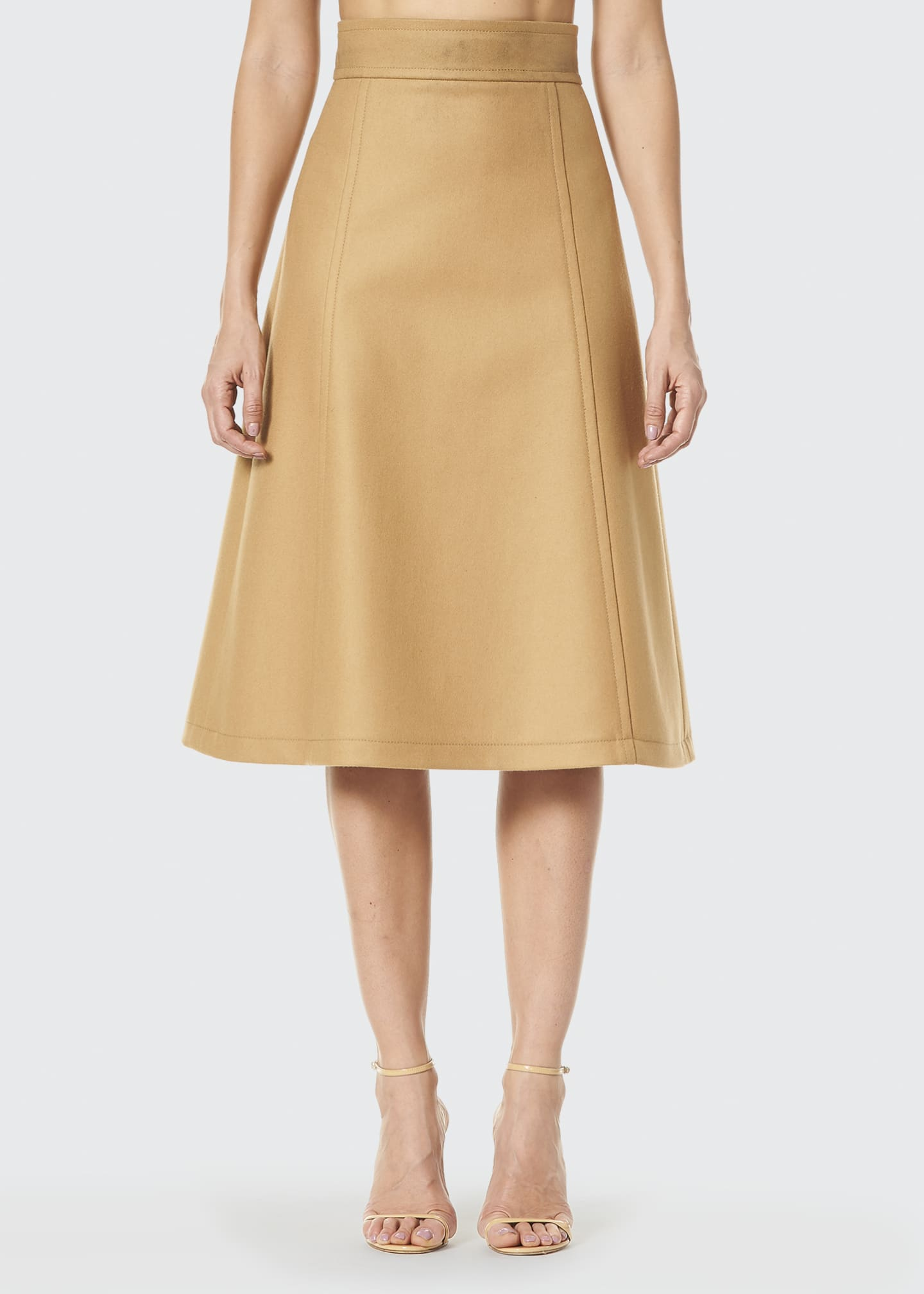 Image 1 of 3: Virgin Wool A-Line Midi Skirt