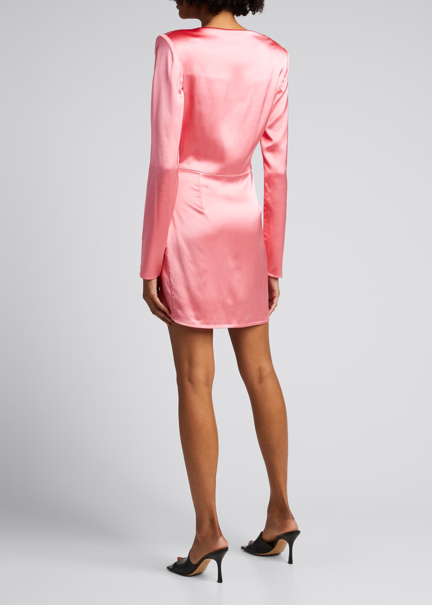Image 2 of 5: Barbosa Long-Sleeve Draped Cocktail Dress
