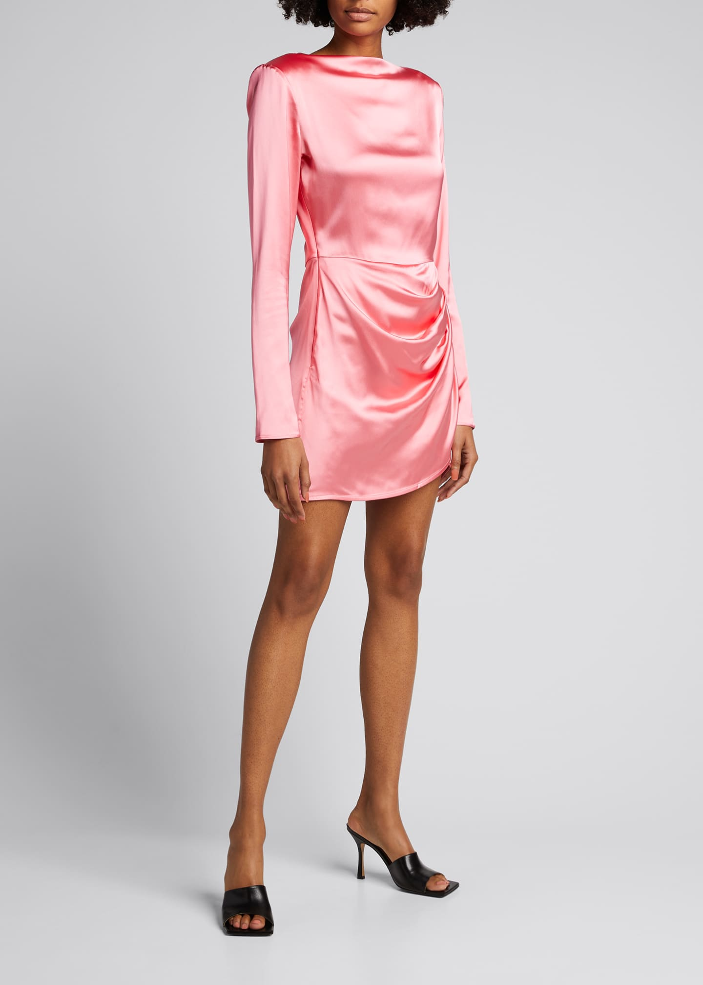 Image 3 of 5: Barbosa Long-Sleeve Draped Cocktail Dress