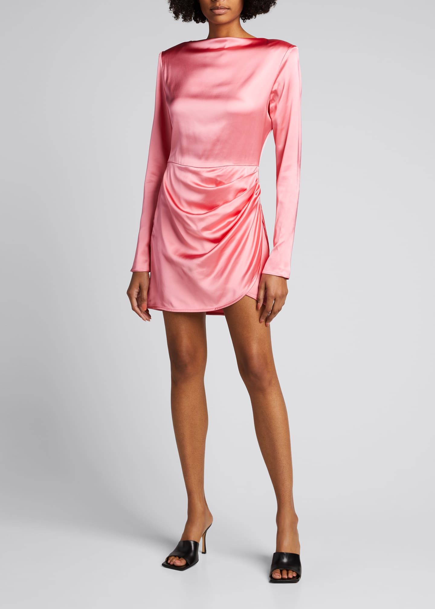 Image 1 of 5: Barbosa Long-Sleeve Draped Cocktail Dress