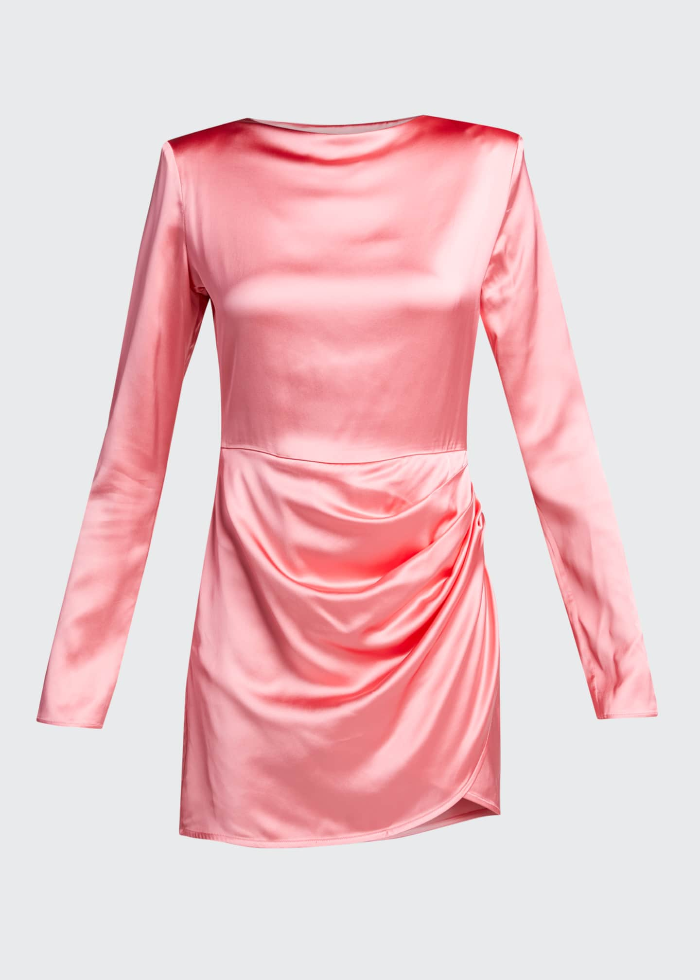 Image 5 of 5: Barbosa Long-Sleeve Draped Cocktail Dress